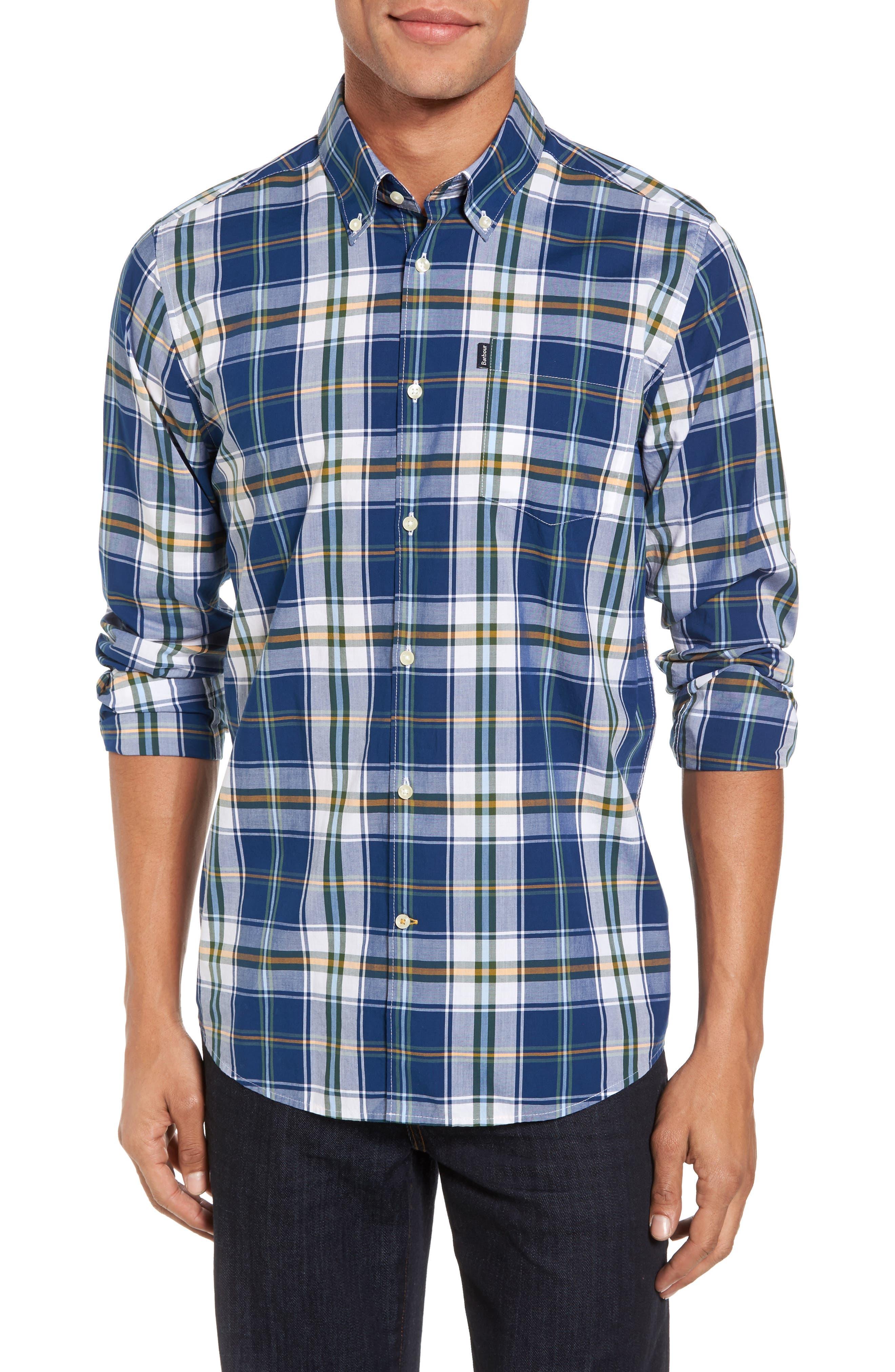 Jeff Trim Fit Plaid Sport Shirt,                         Main,                         color, Deep Blue