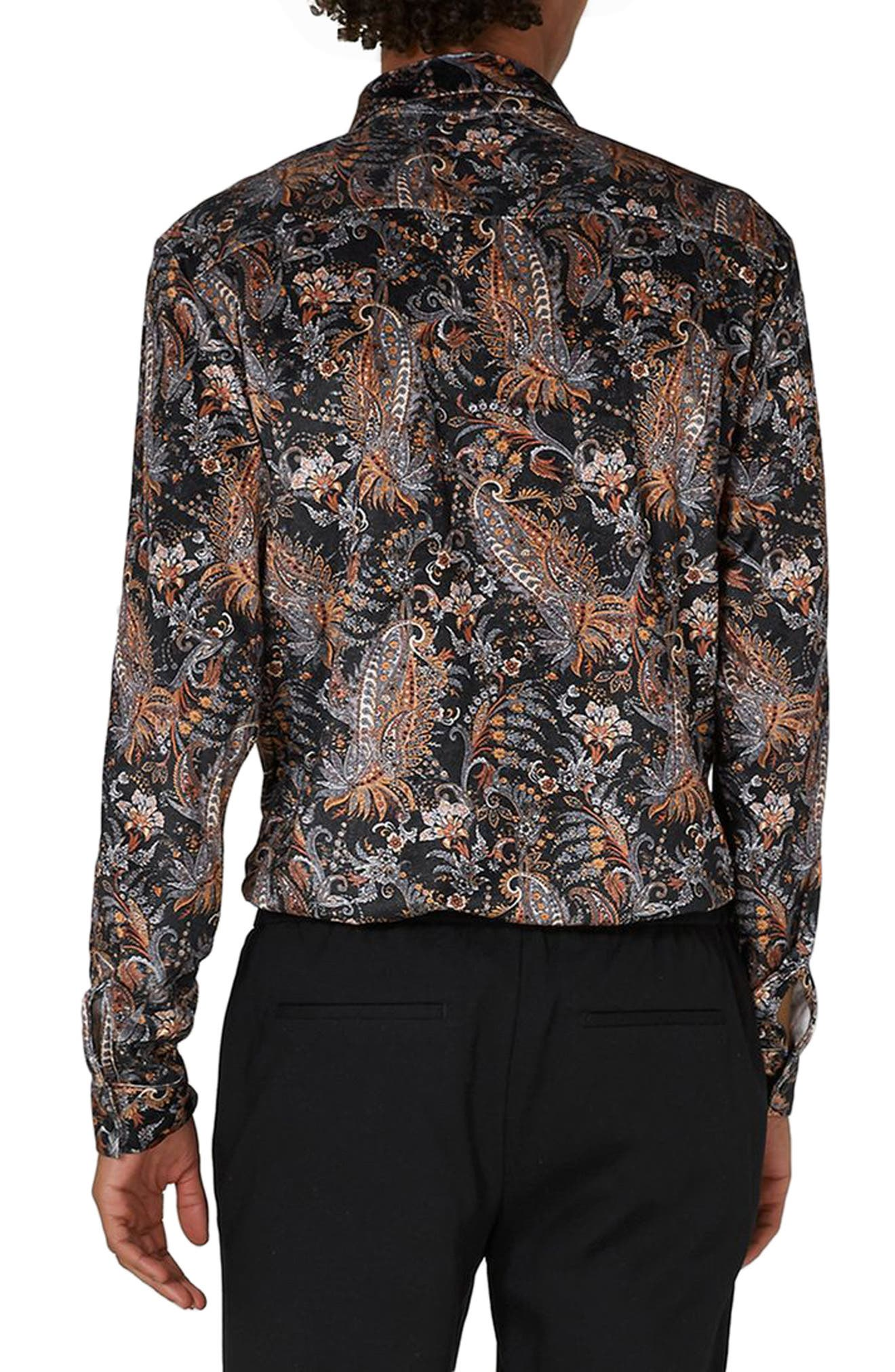 Classic Fit Paisley Velvet Shirt,                             Alternate thumbnail 2, color,                             Black Multi