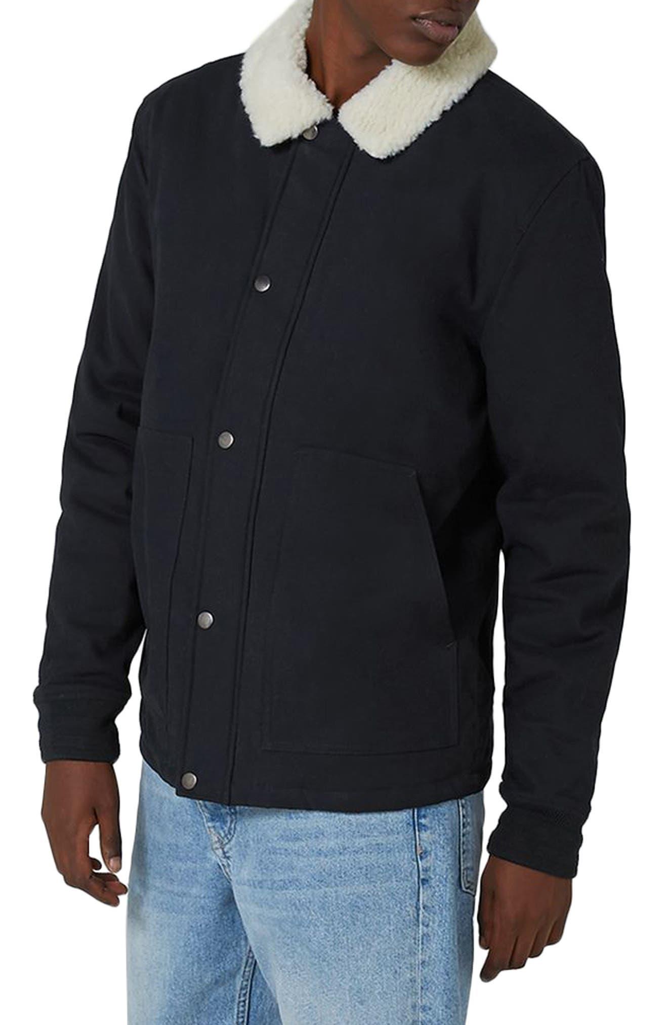 Borg Collar Coach Jacket,                         Main,                         color, Dark Blue