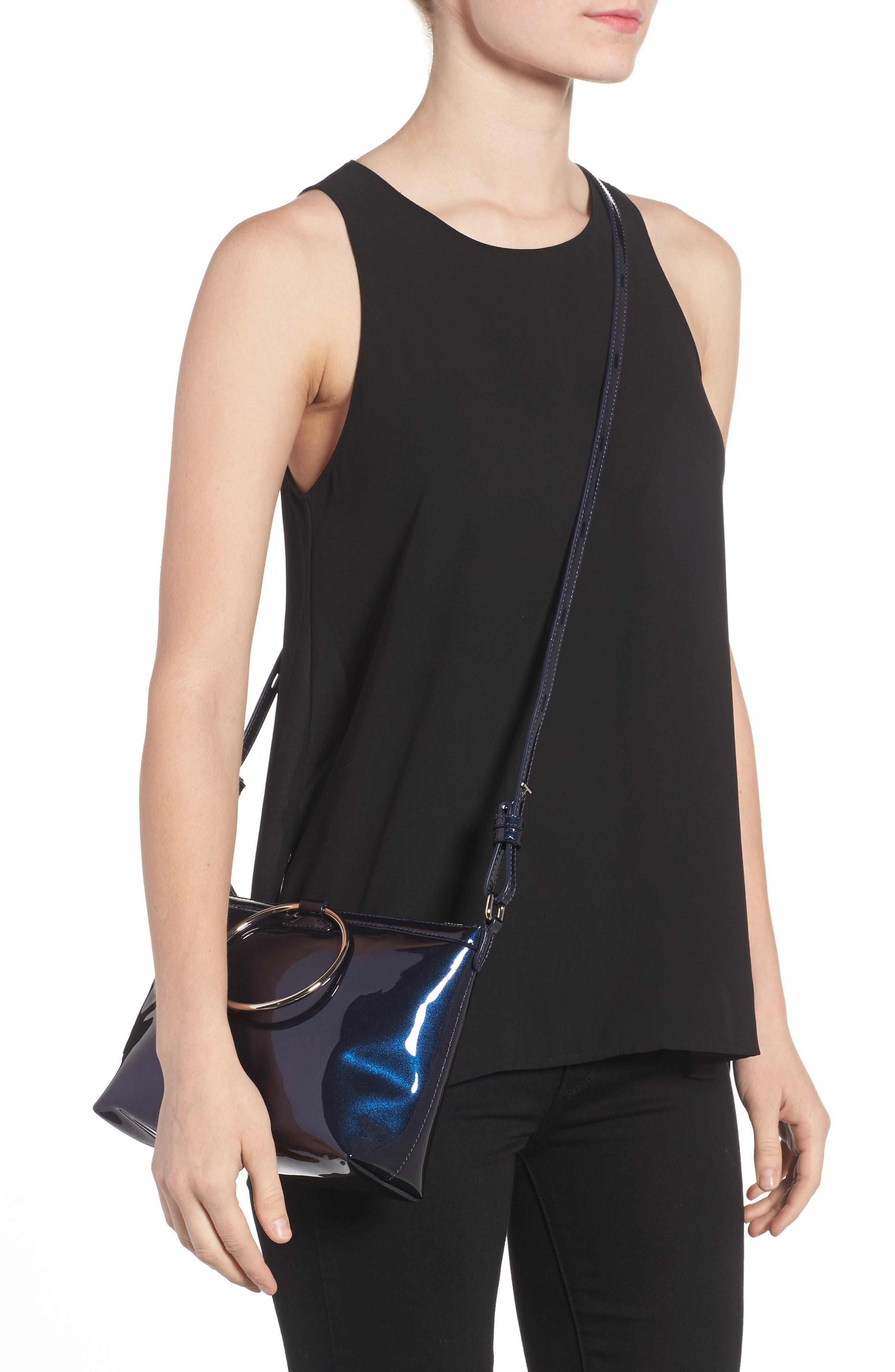 Iridescent Ring Crossbody Bag,                             Alternate thumbnail 8, color,                             Galaxy Navy