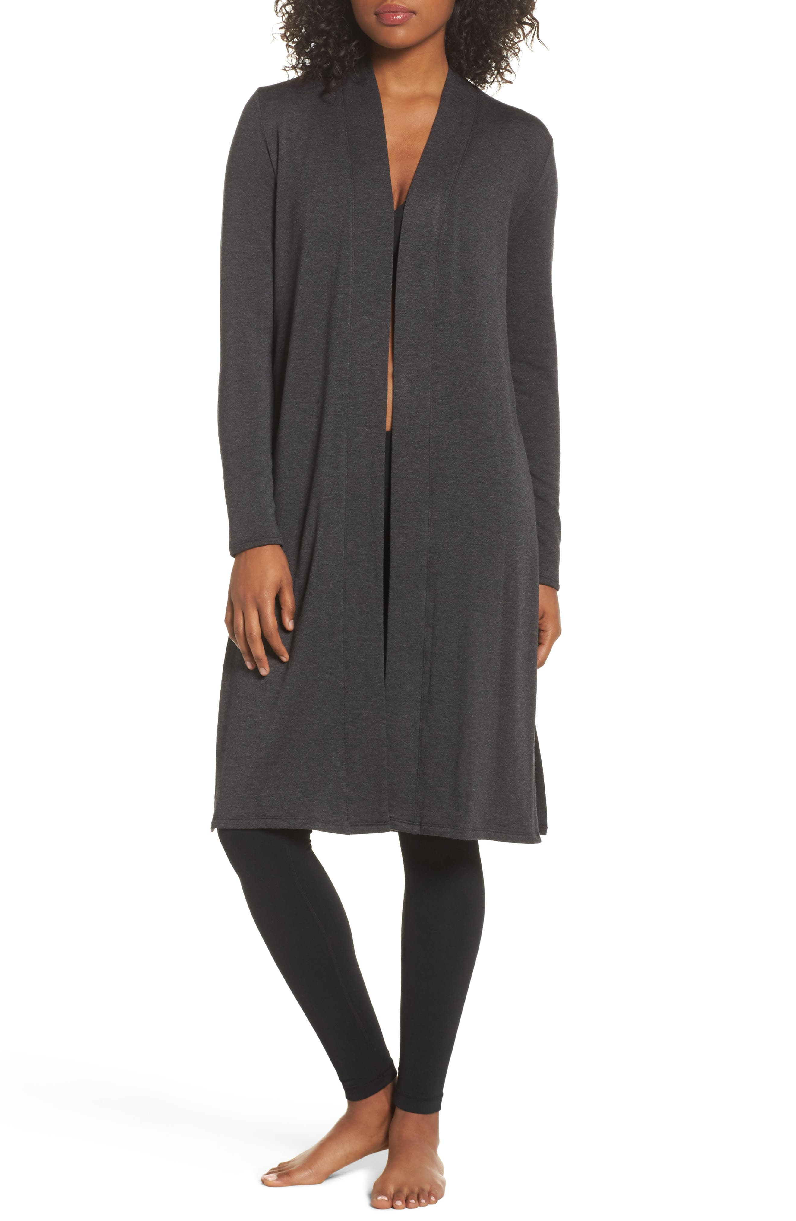 Slit Duster,                         Main,                         color, Charcoal Heather Grey