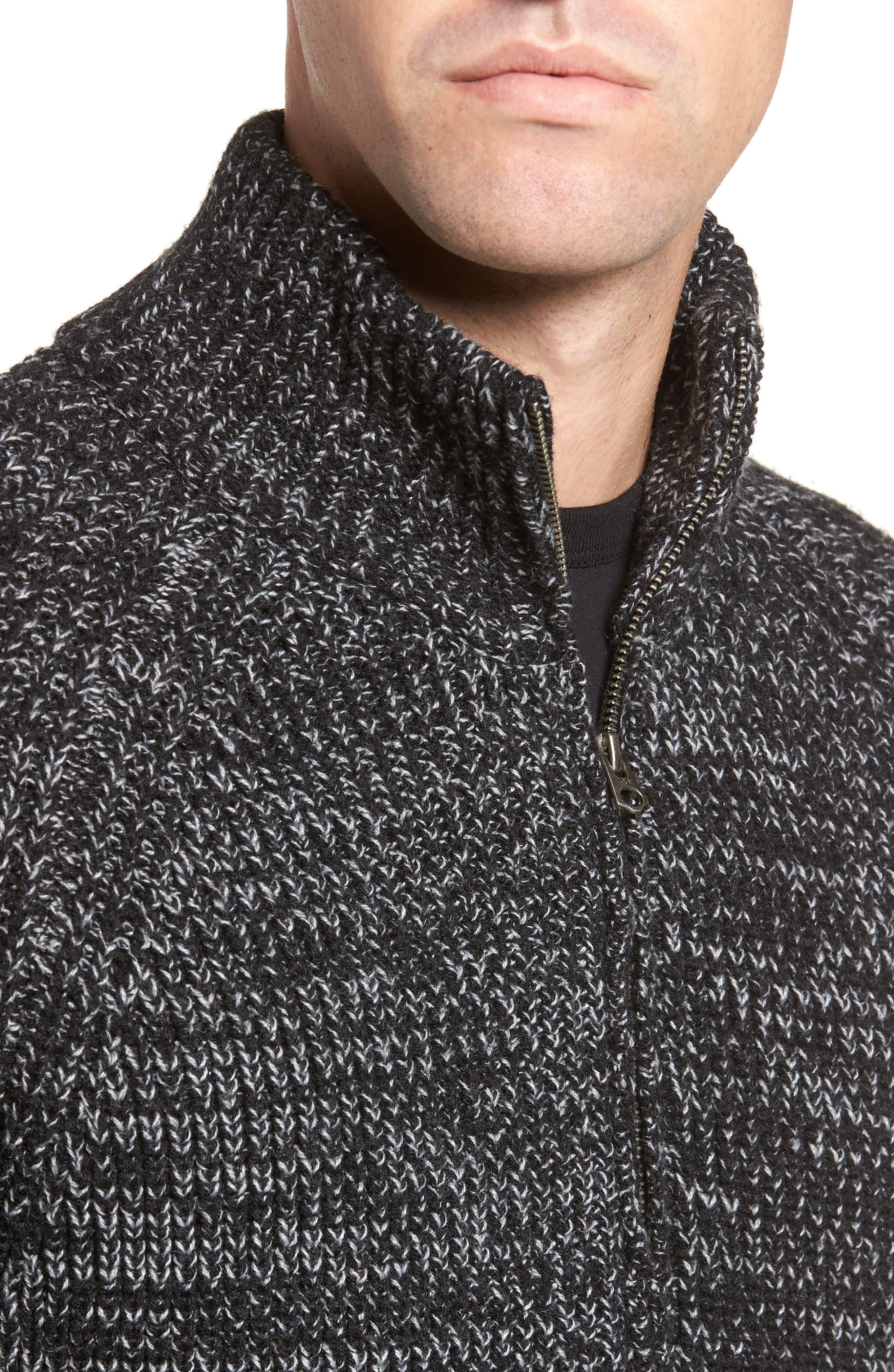 Zip Wool Blend Cardigan,                             Alternate thumbnail 4, color,                             Black