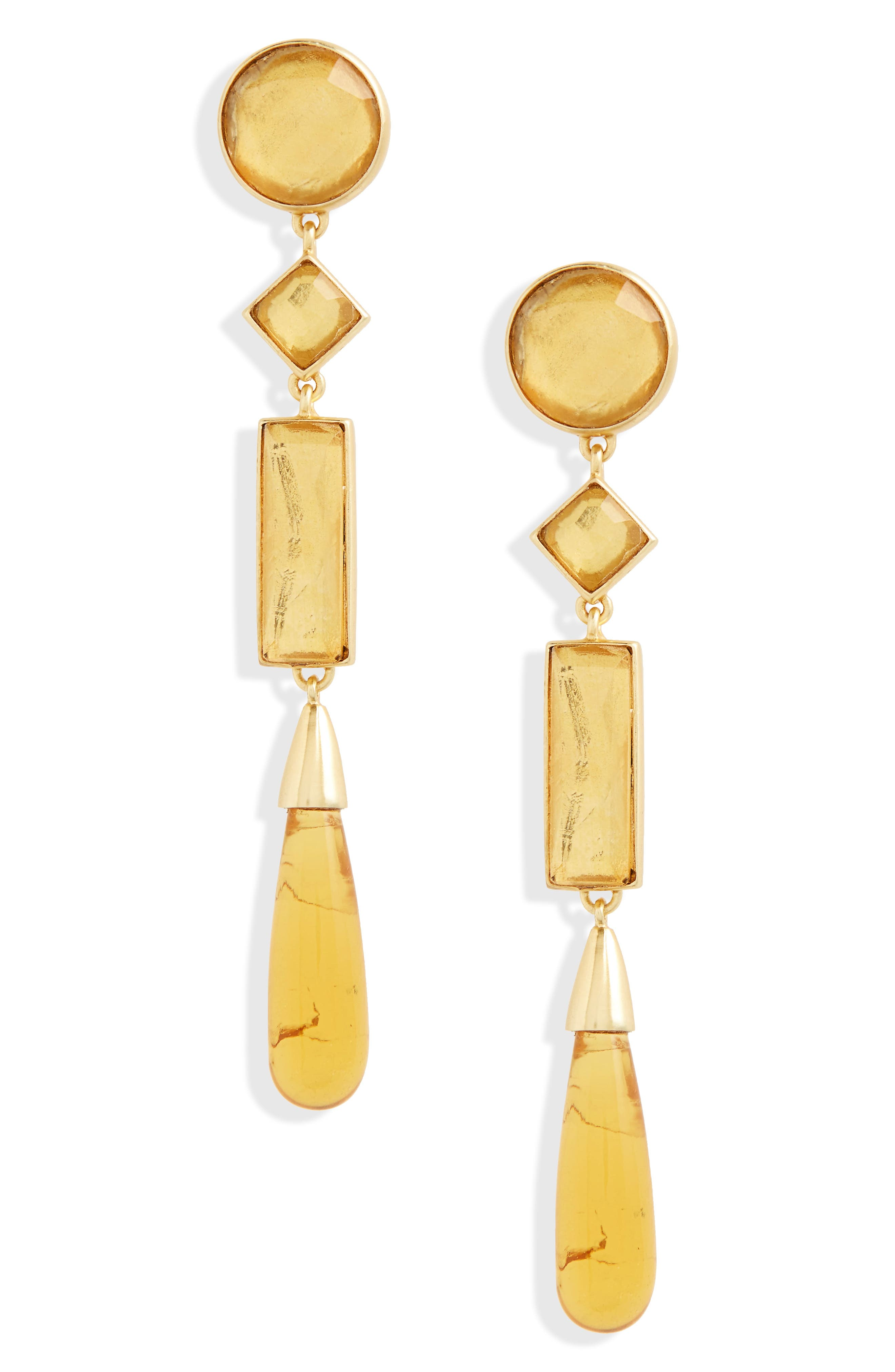 Embellished Linear Drop Earrings,                             Main thumbnail 1, color,                             Colorado Topaz/ Tory Gold