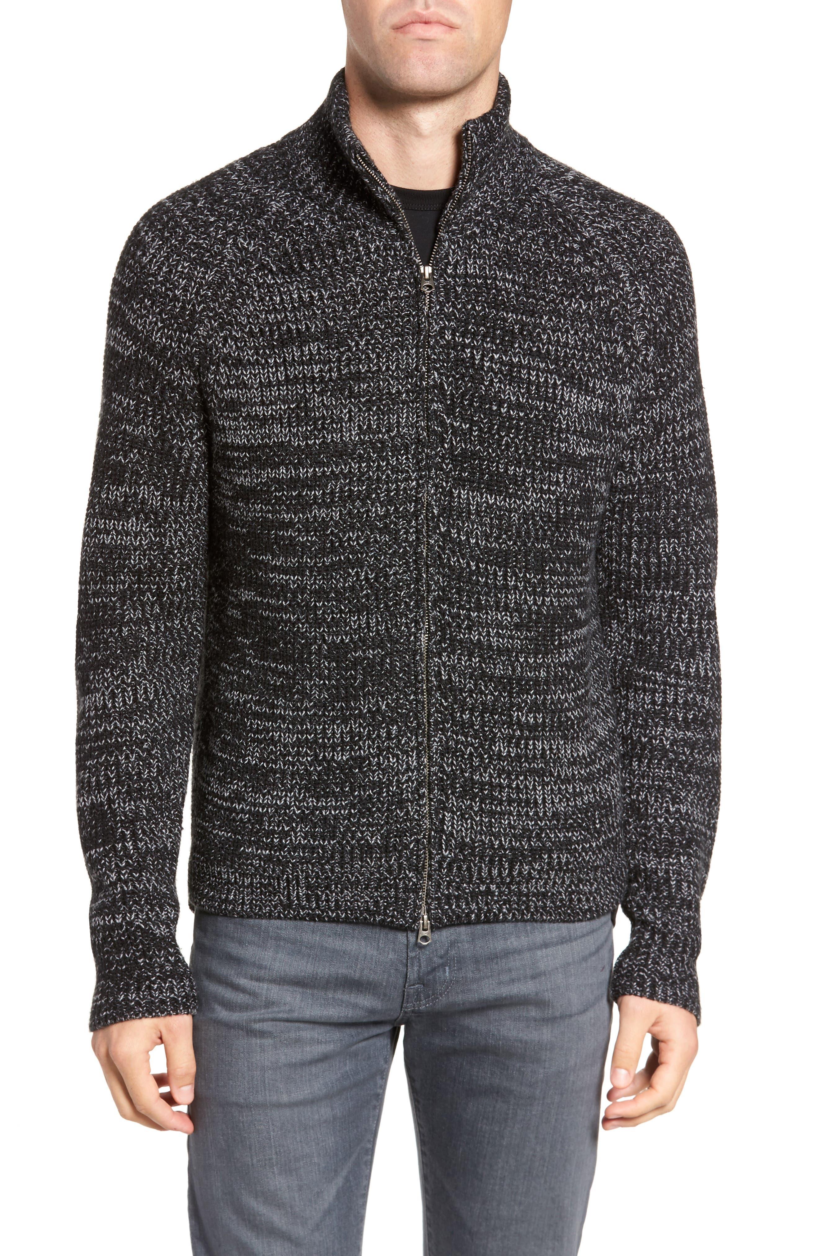 Zip Wool Blend Cardigan,                             Main thumbnail 1, color,                             Black