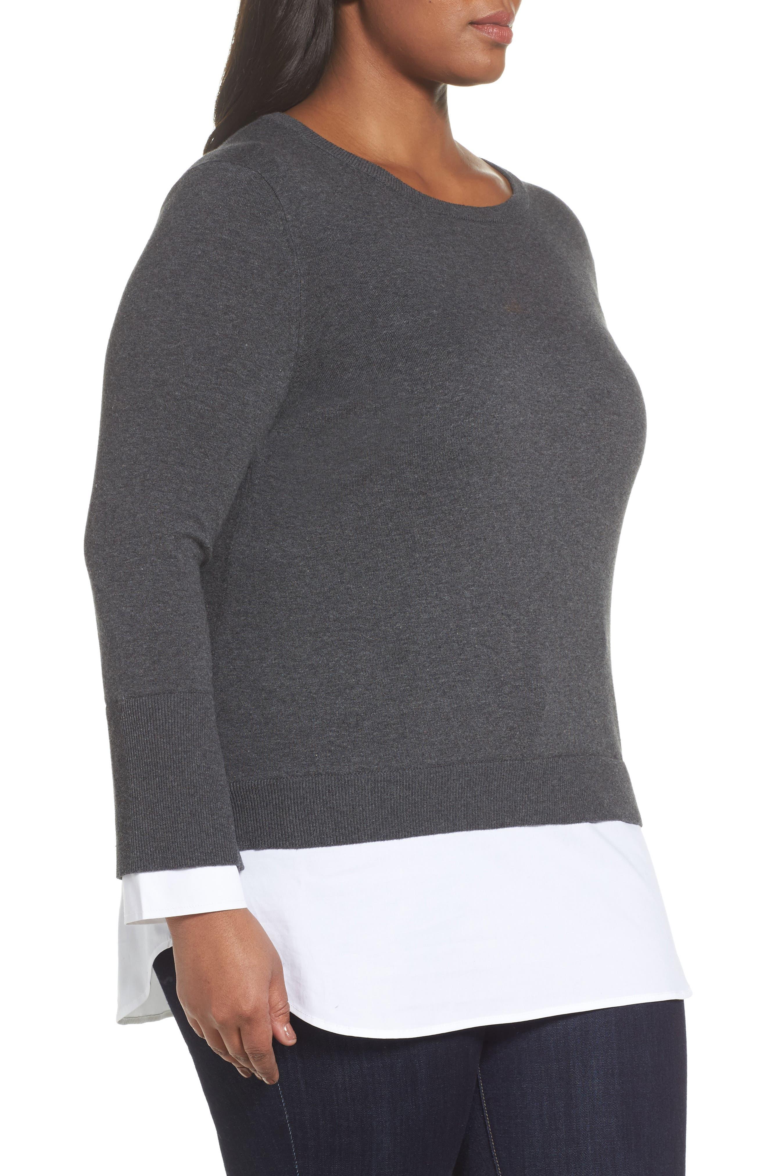Layered Look Sweater,                             Alternate thumbnail 3, color,                             Medium Heather Grey