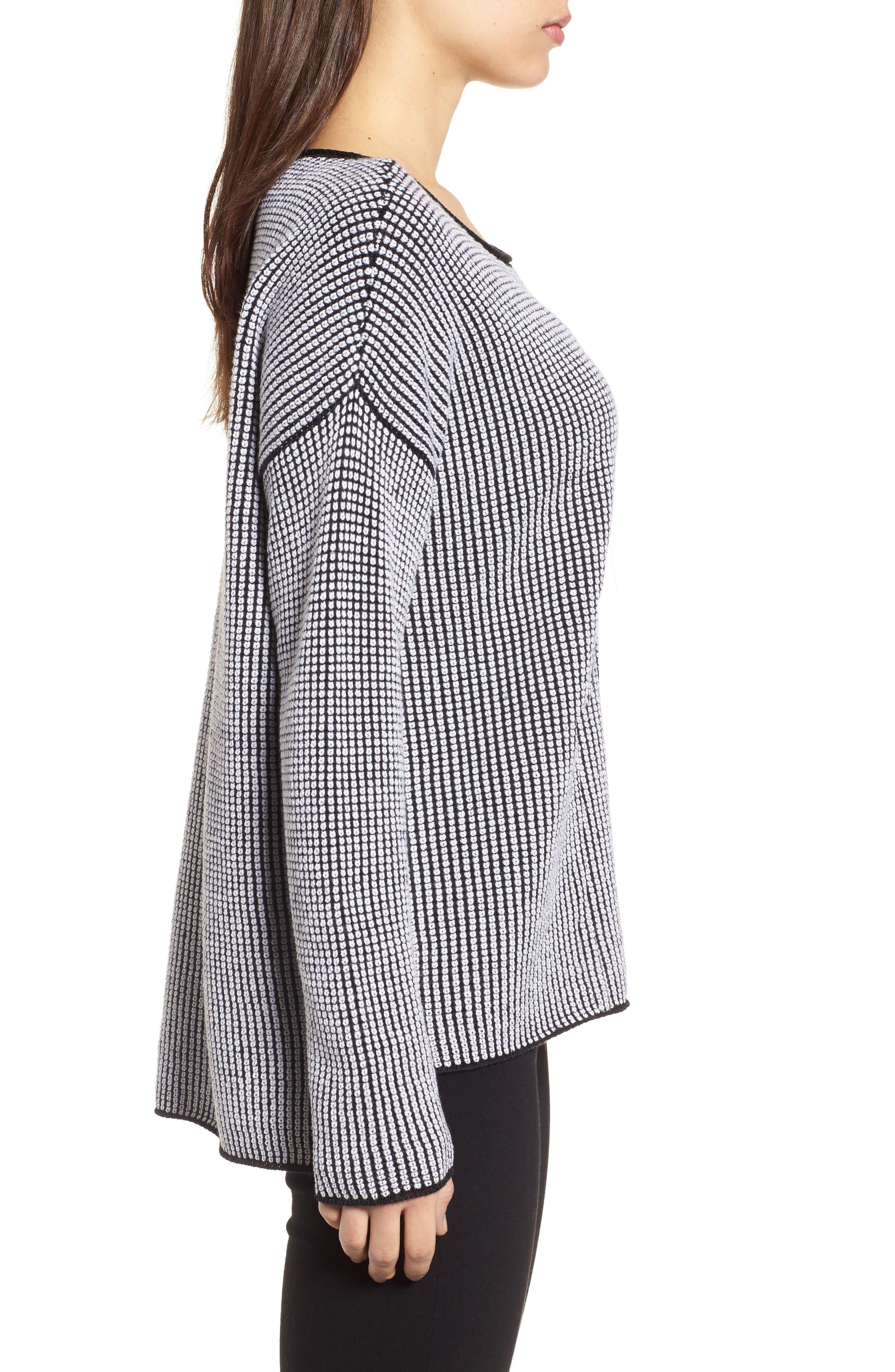 Textured Merino Wool Sweater,                             Alternate thumbnail 4, color,                             Black/ Soft White