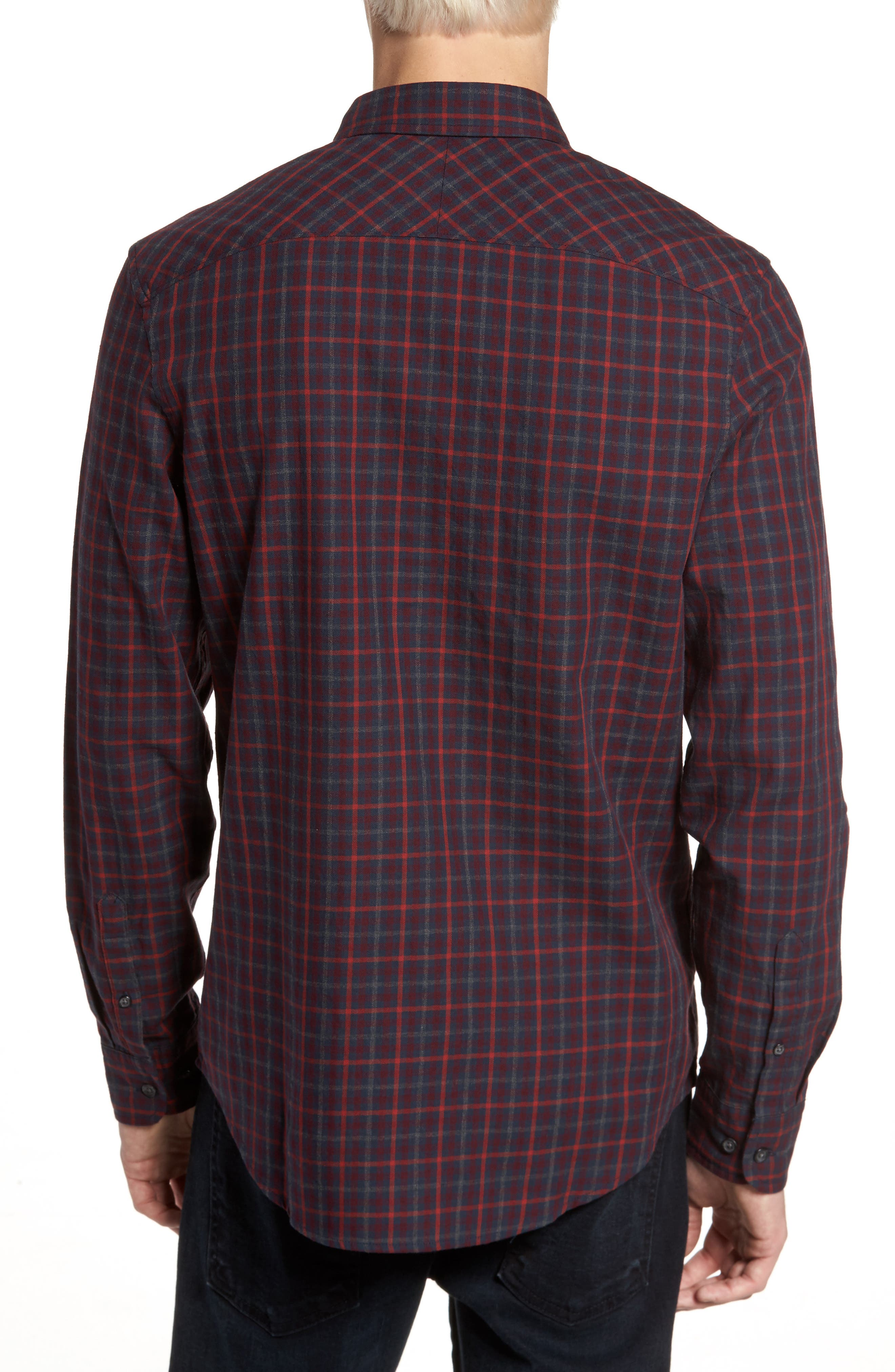 Brushed Flannel Gingham Shirt,                             Alternate thumbnail 2, color,                             Dark Sapphire