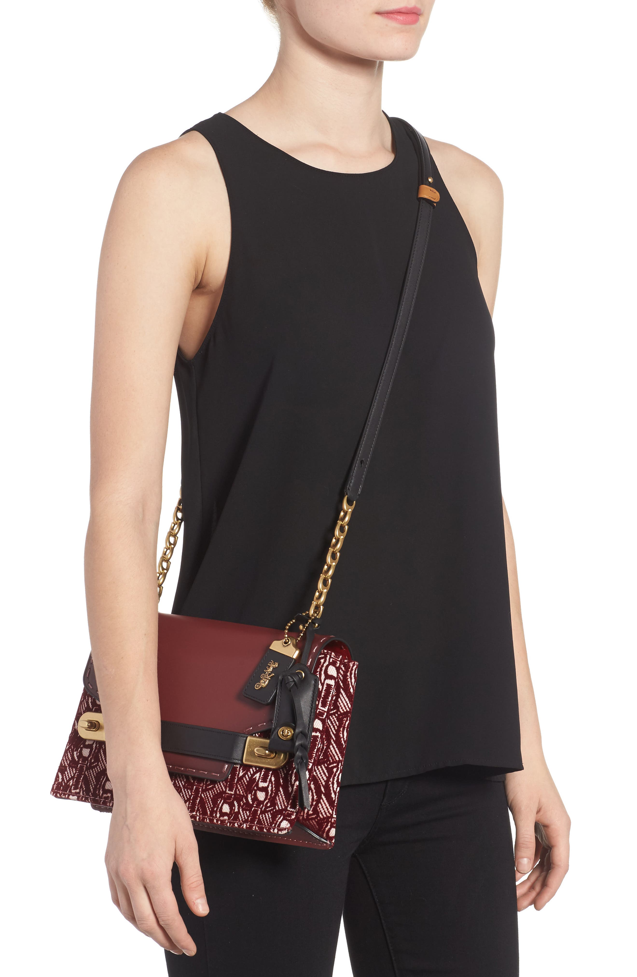 Swagger Chain Leather Crossbody Bag,                             Alternate thumbnail 2, color,                             Bordeaux