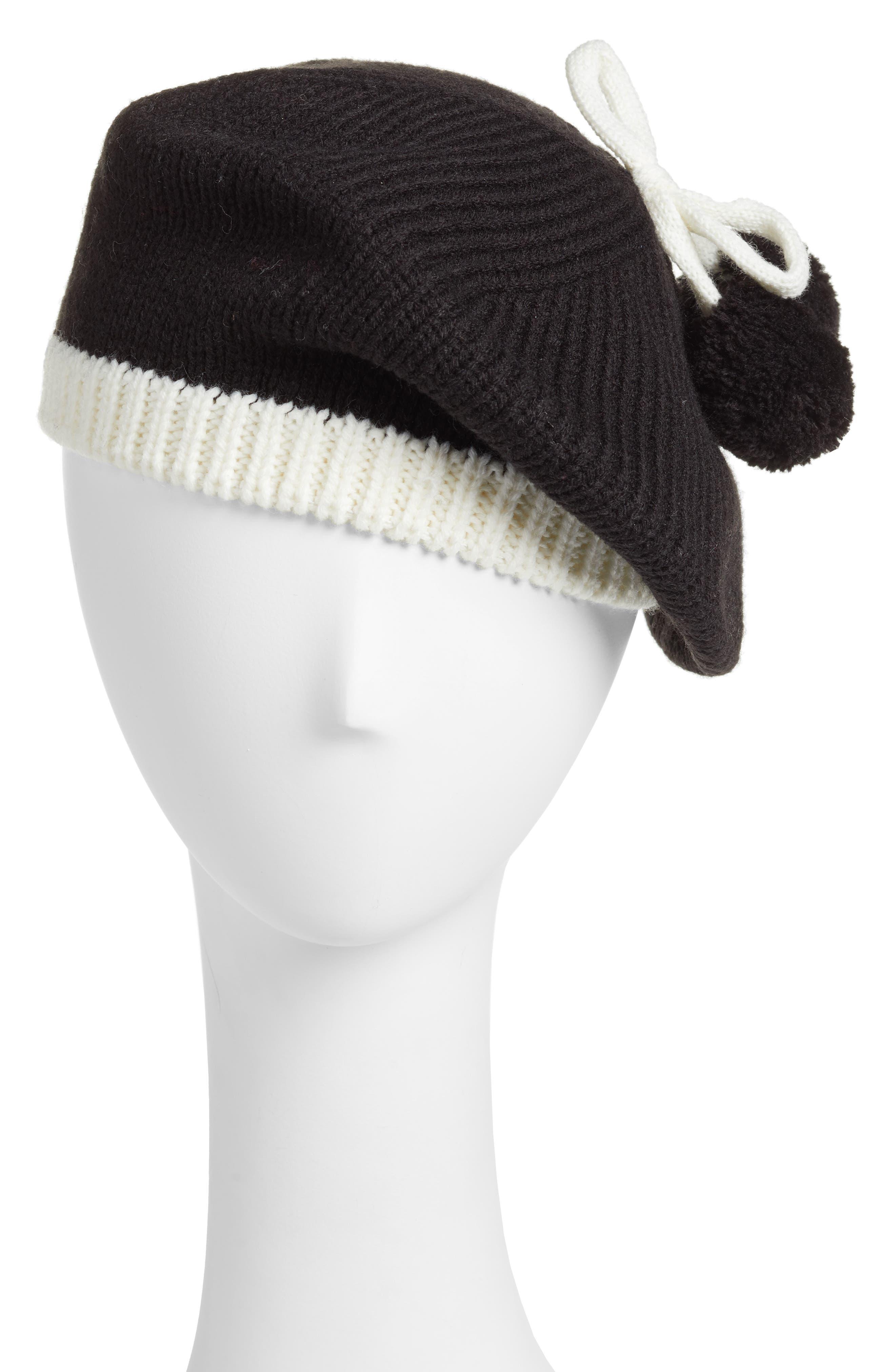 bow pom beret,                         Main,                         color, Black