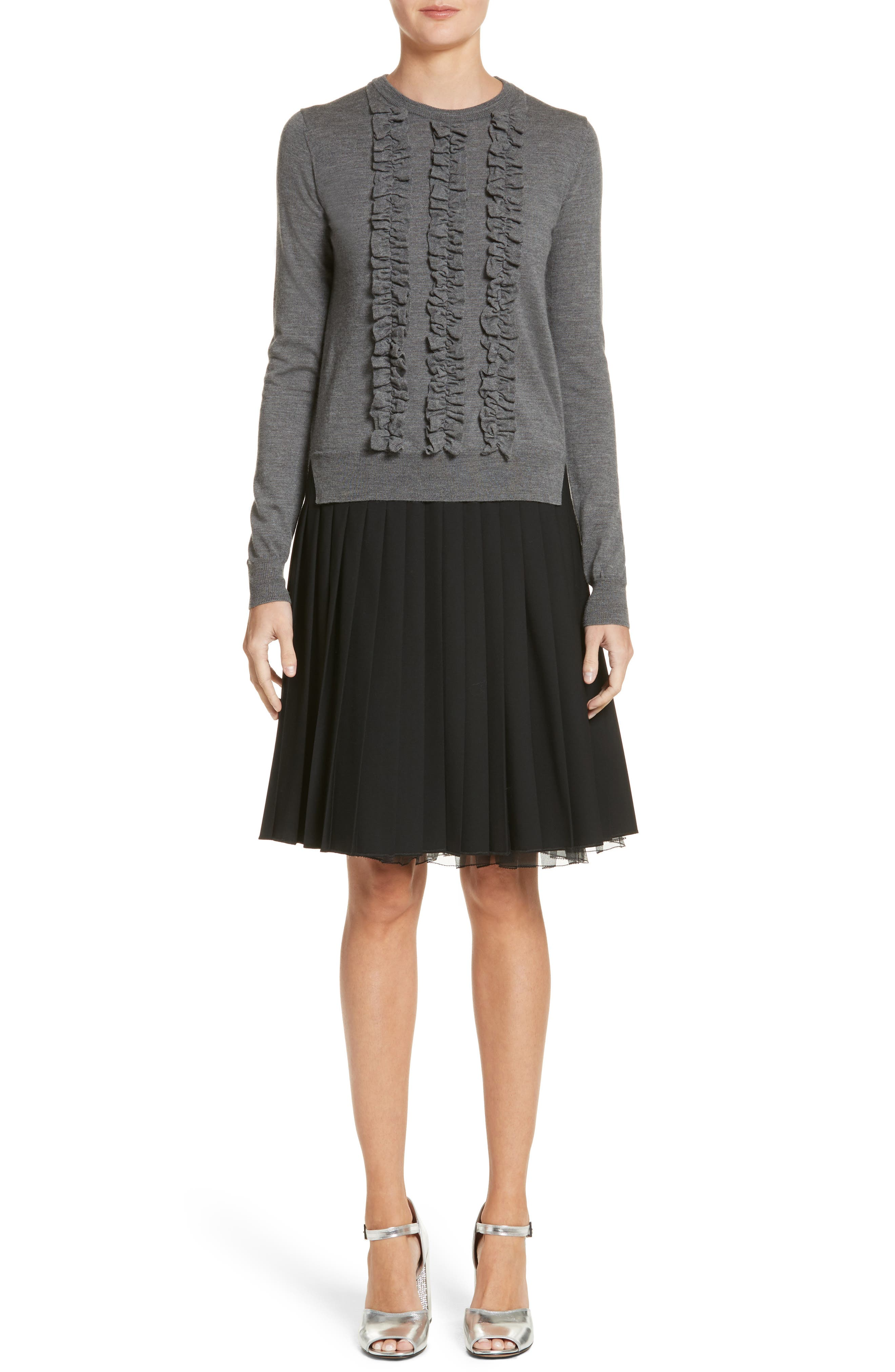 Pleated Stretch Wool Skirt,                             Alternate thumbnail 7, color,                             Black