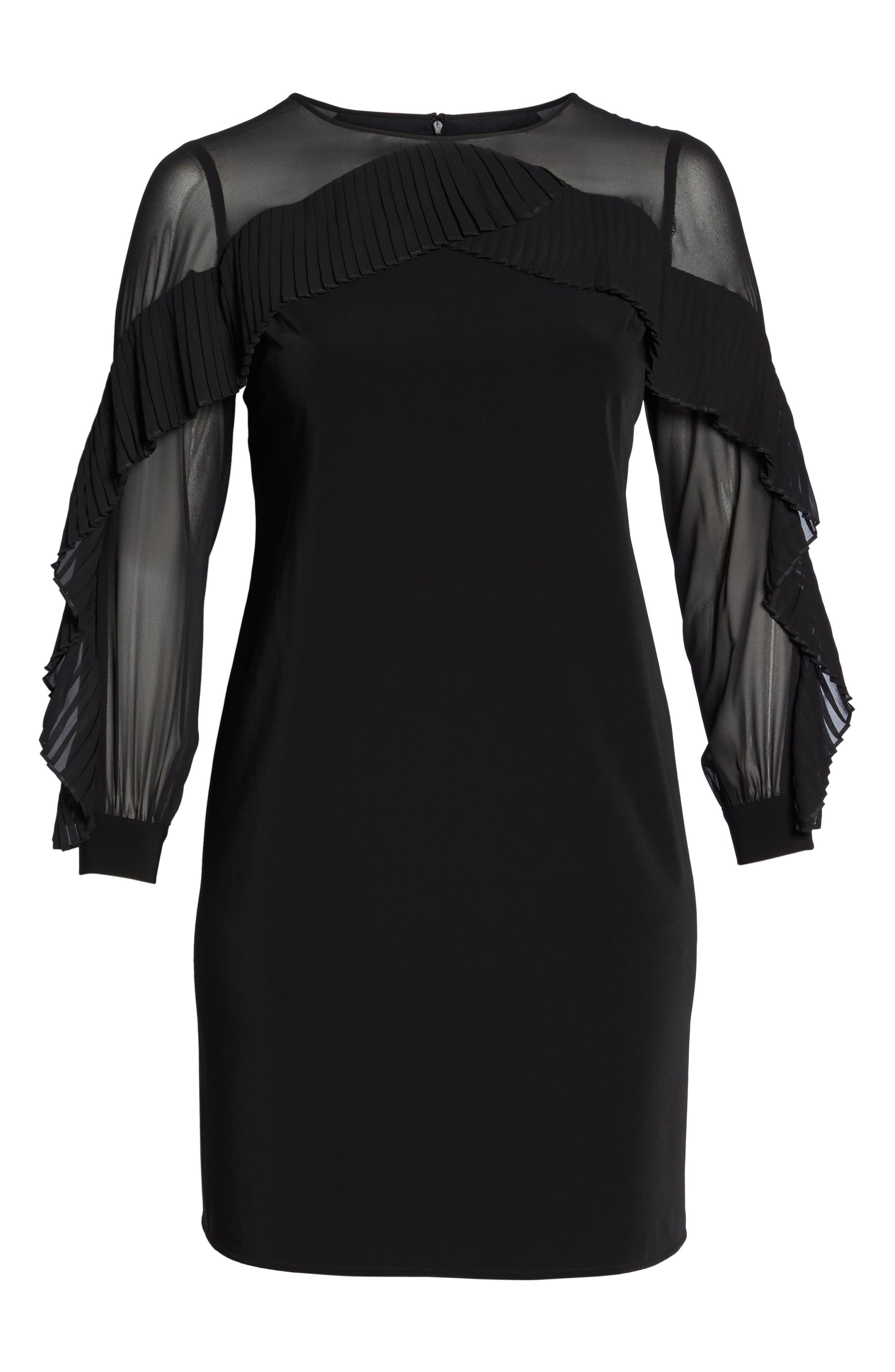 Pleat Ruffle Trim Shift Dress,                             Alternate thumbnail 6, color,                             Black