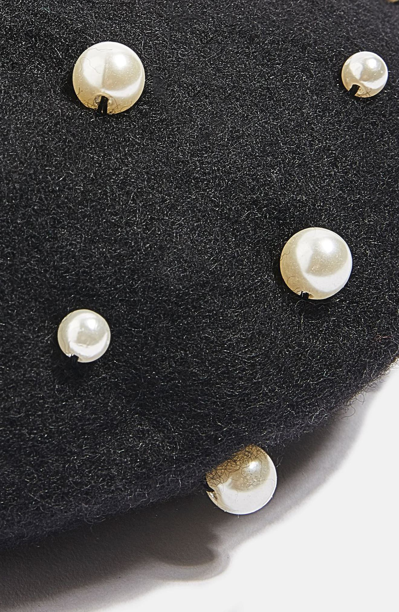 Imitation Pearl Wool Blend Beret,                             Alternate thumbnail 3, color,                             Black Multi