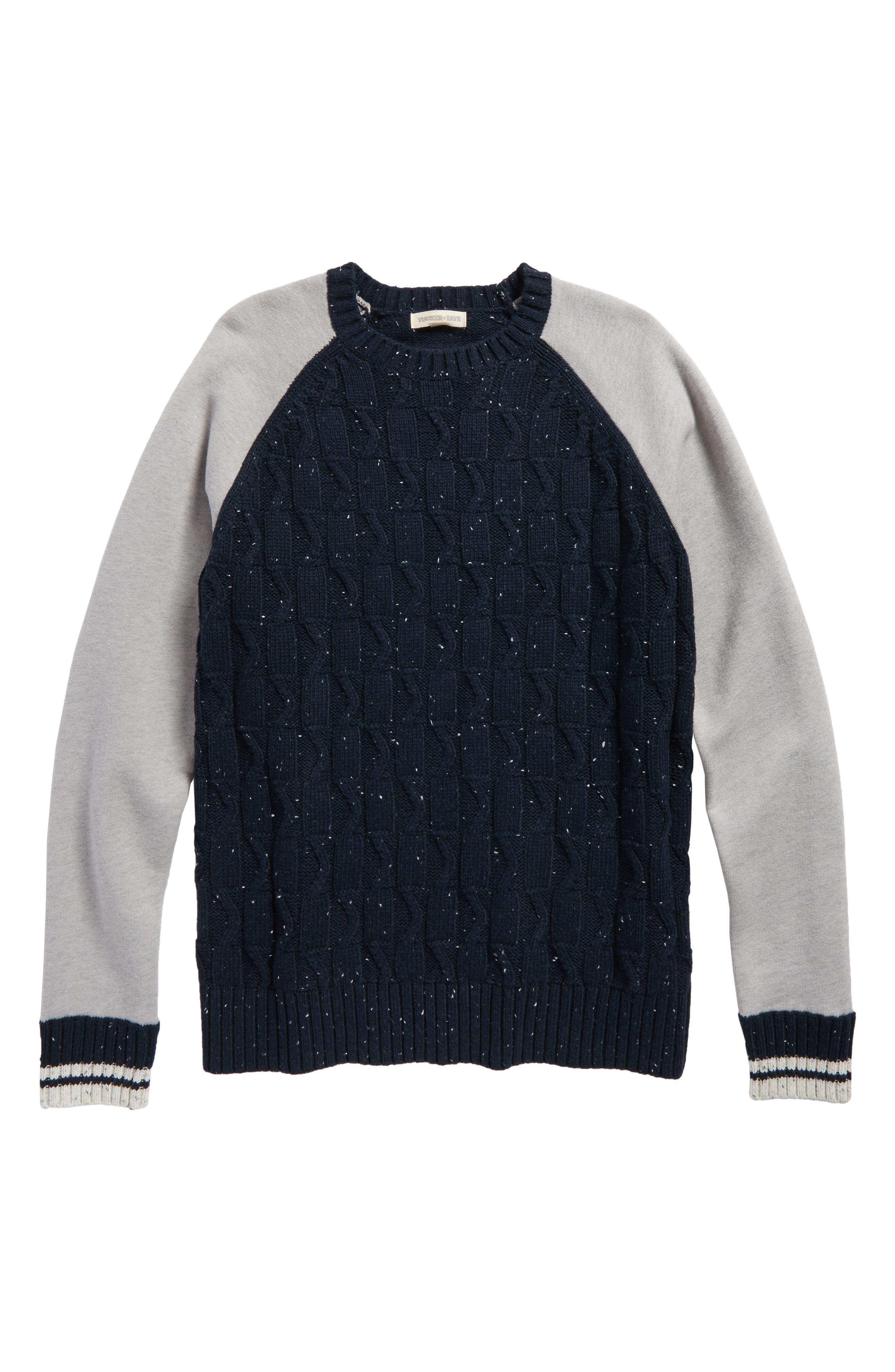 Mixed Media Sweater,                             Main thumbnail 1, color,                             Navy Carbon