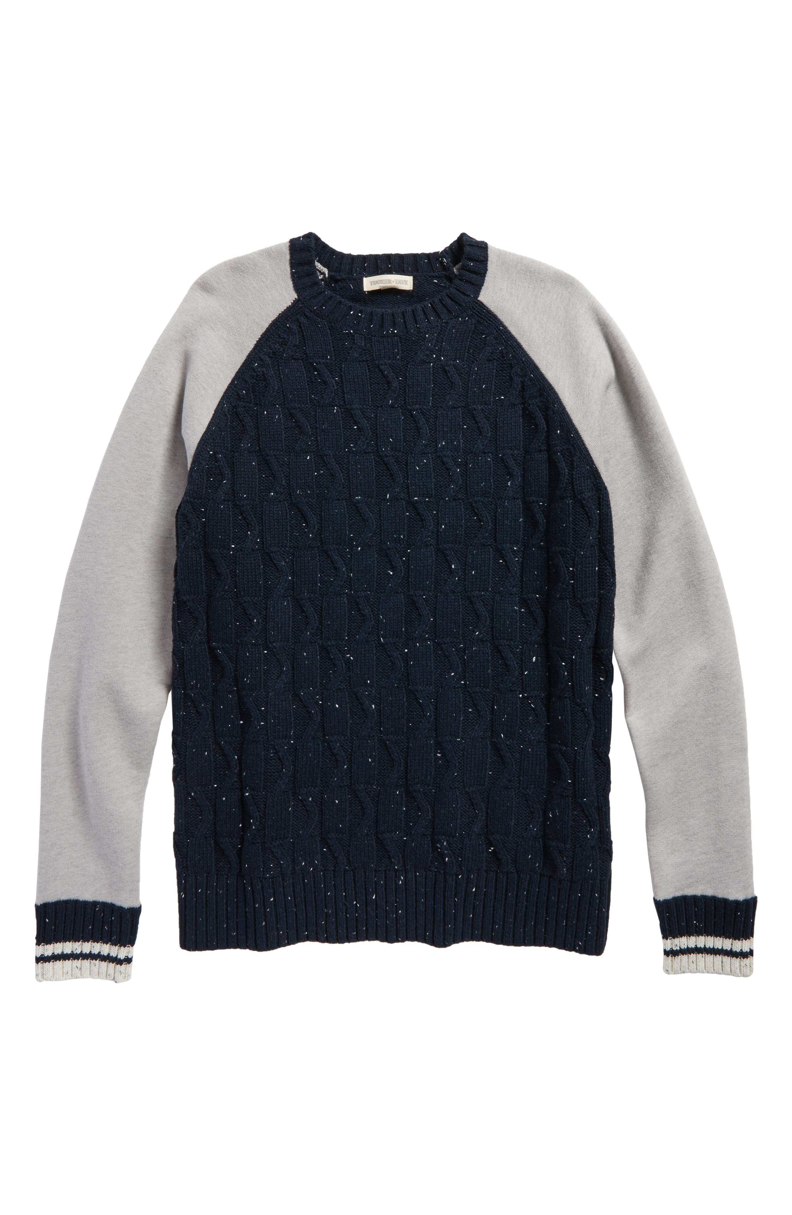 Mixed Media Sweater,                         Main,                         color, Navy Carbon