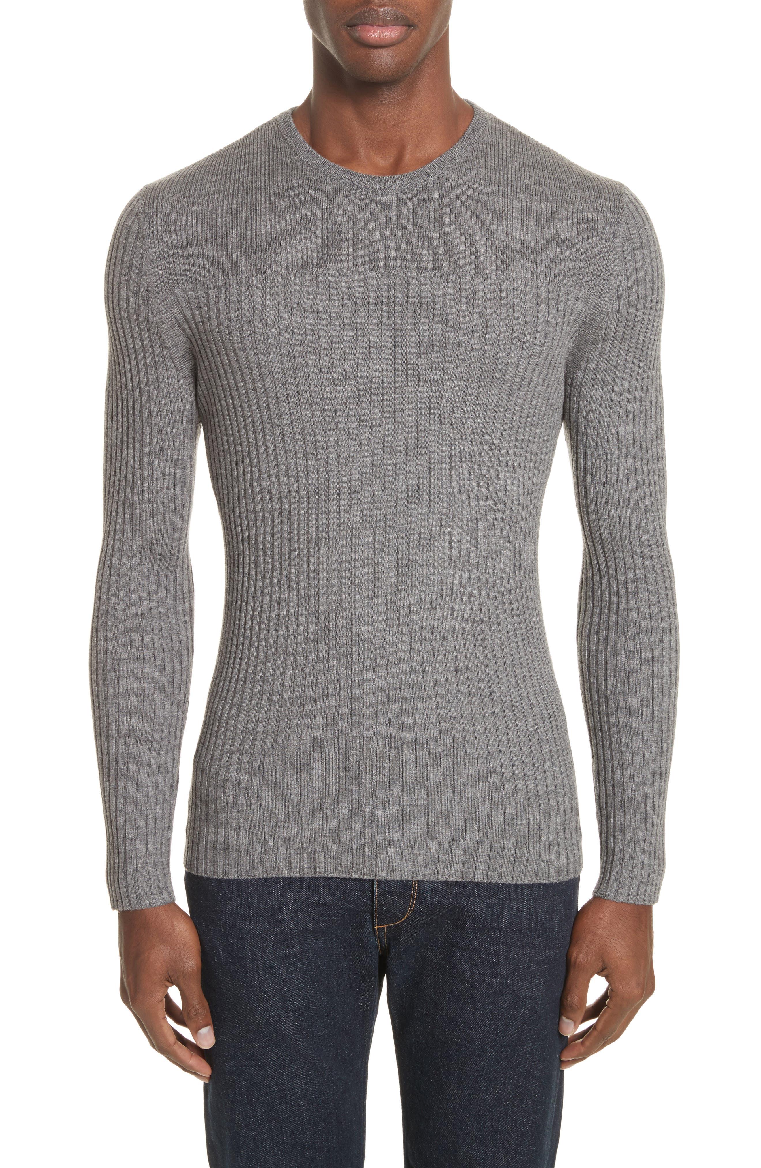 Merino Wool Sweater,                         Main,                         color, Grey Flannel