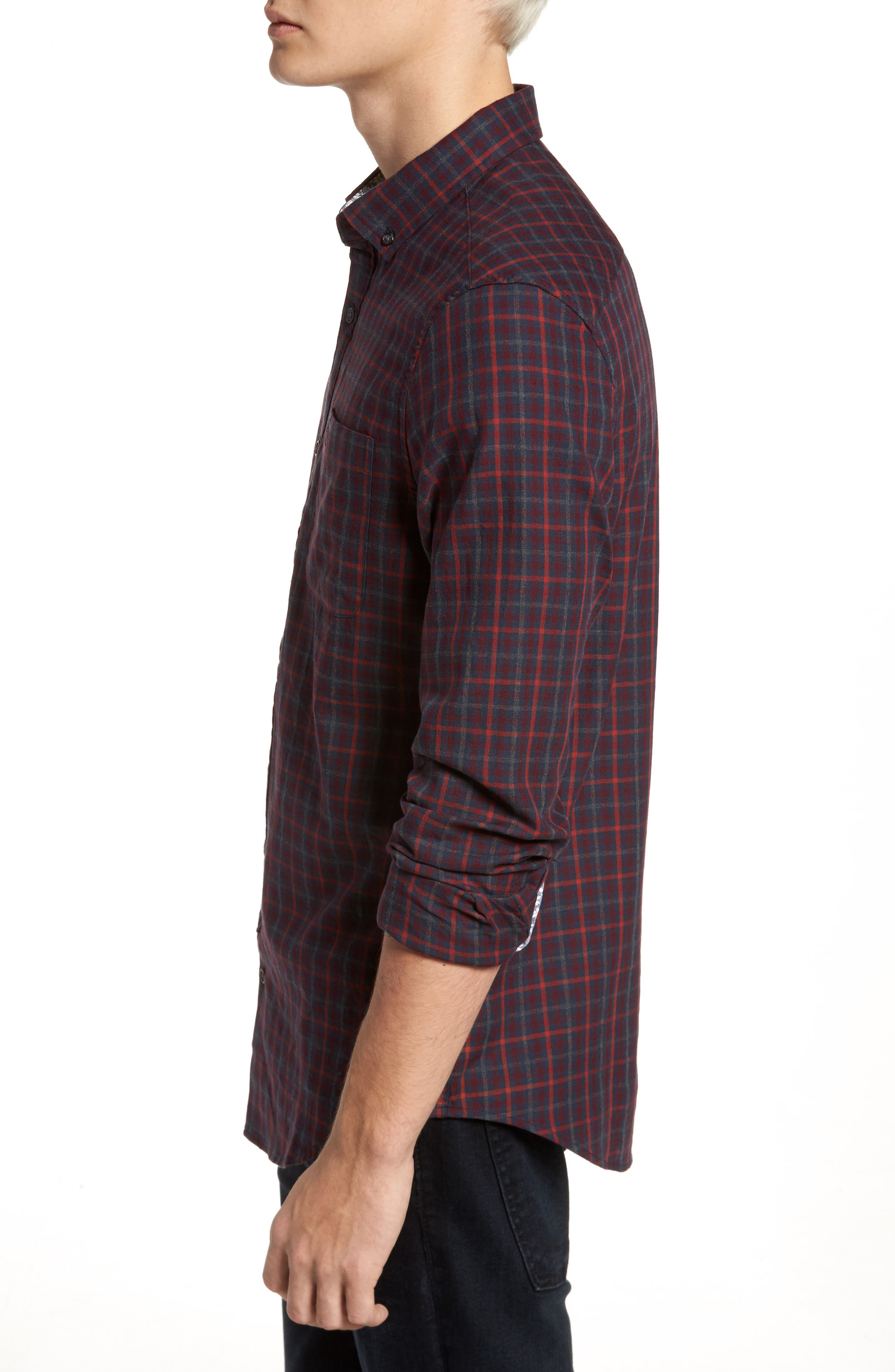 Brushed Flannel Gingham Shirt,                             Alternate thumbnail 3, color,                             Dark Sapphire