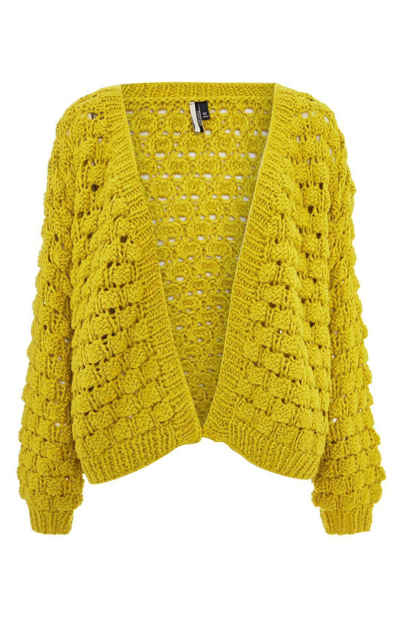 Bobble Stitch Cardigan,                             Alternate thumbnail 4, color,                             Chartreuse