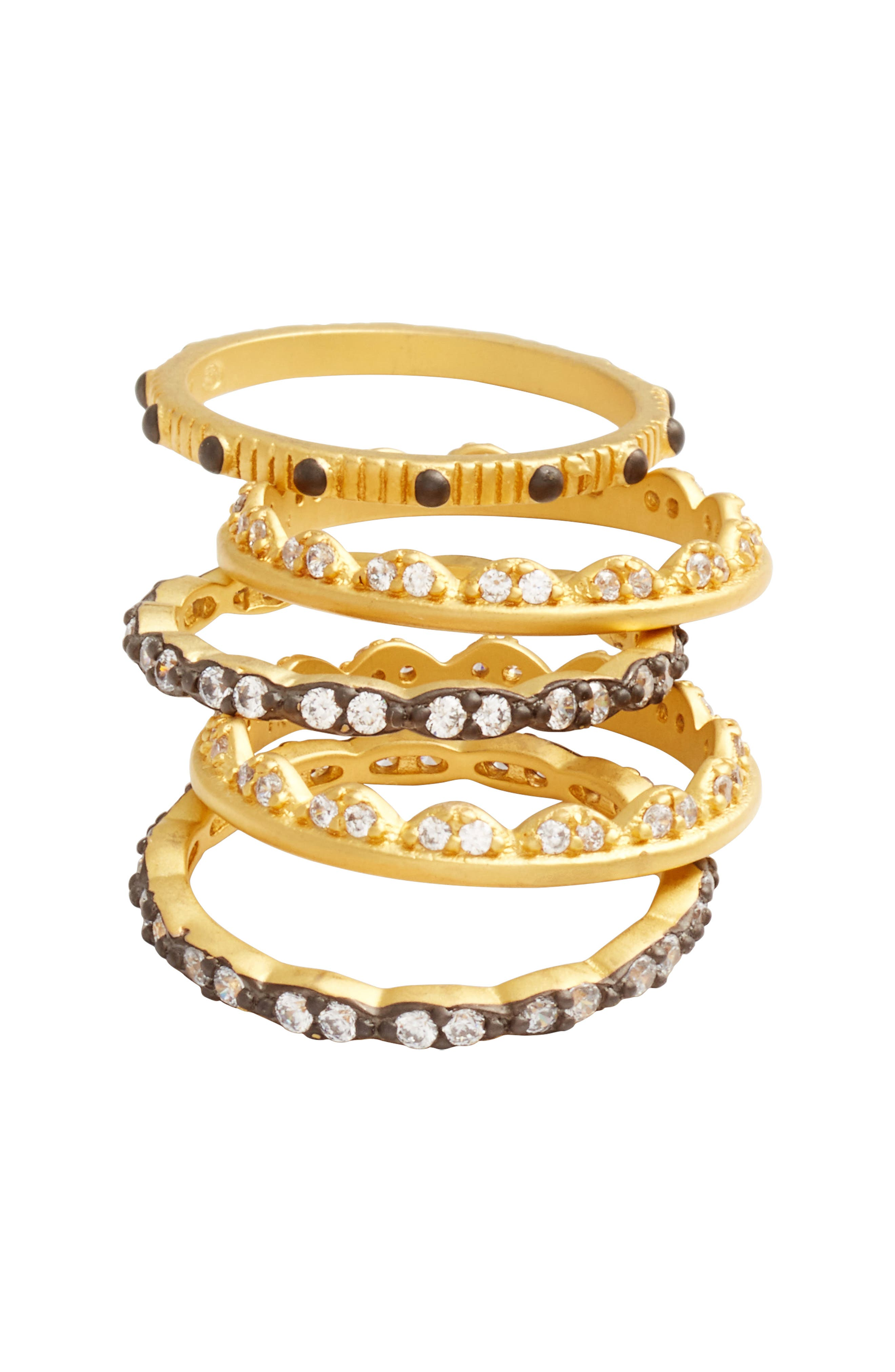Set of 5 Stack Rings,                             Alternate thumbnail 4, color,                             Gold/ Black Rhodium