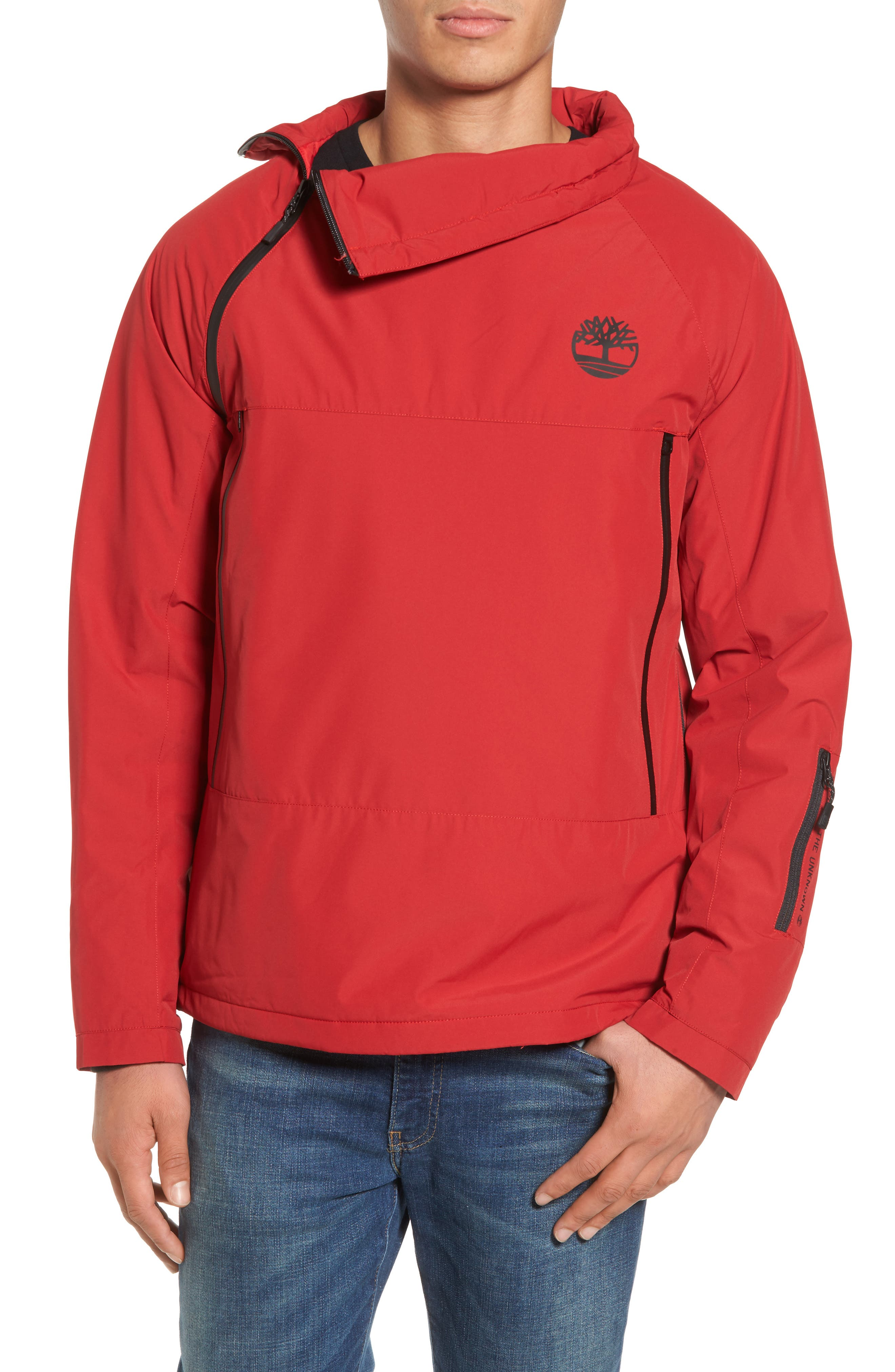 Asymmetrical Water-Repellent Funnel Neck Pullover,                         Main,                         color, Chili Pepper