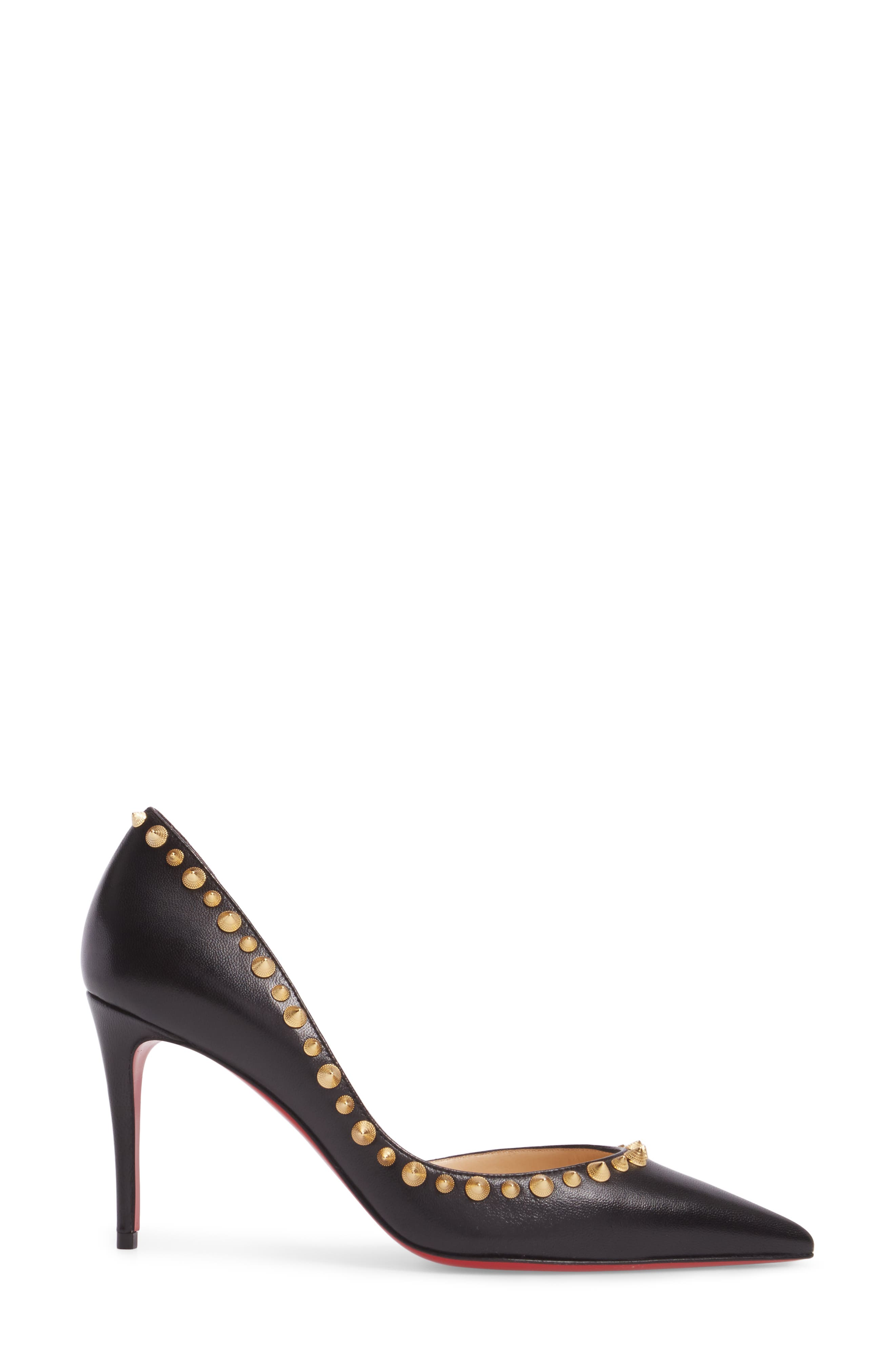 Irishell Studded Half d'Orsay Pump,                             Alternate thumbnail 3, color,                             Black/ Gold
