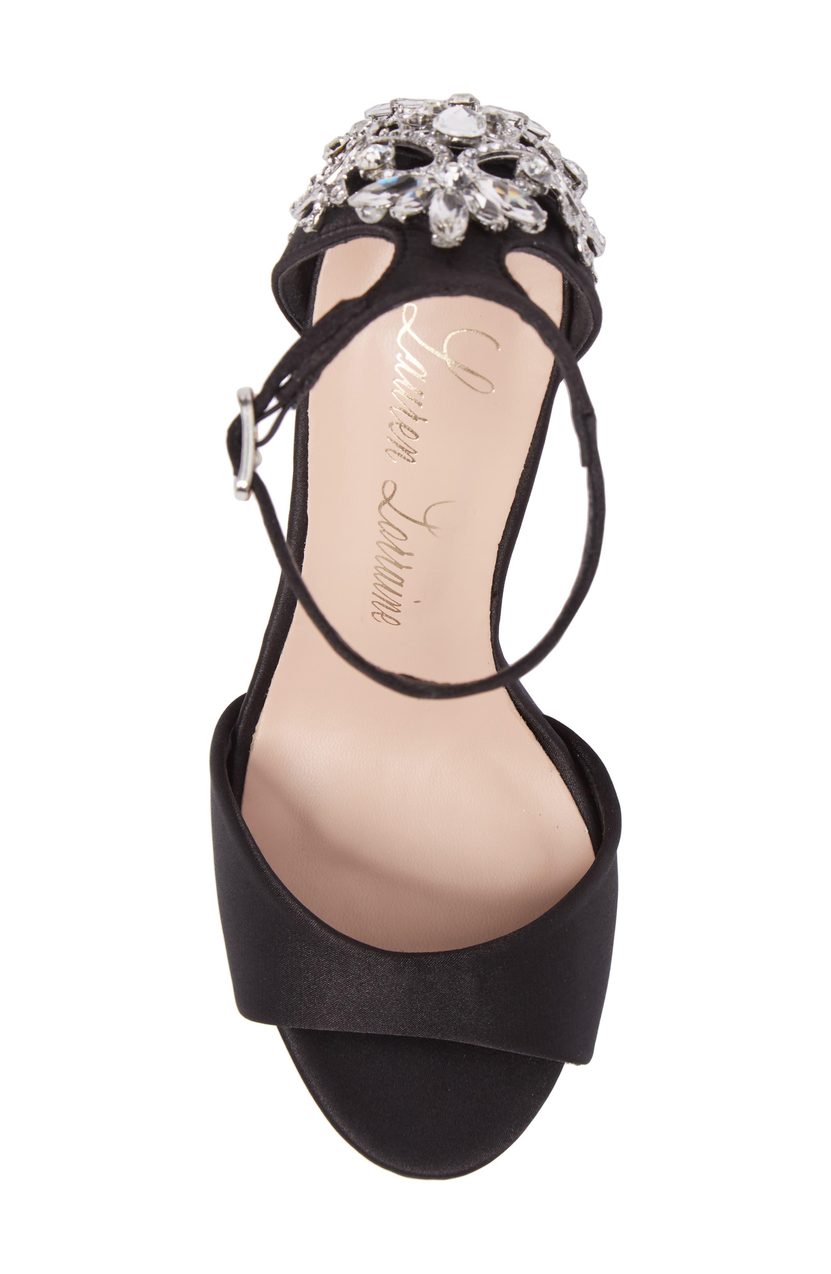 Monet Crystal Embellished Sandal,                             Alternate thumbnail 5, color,                             Black Satin