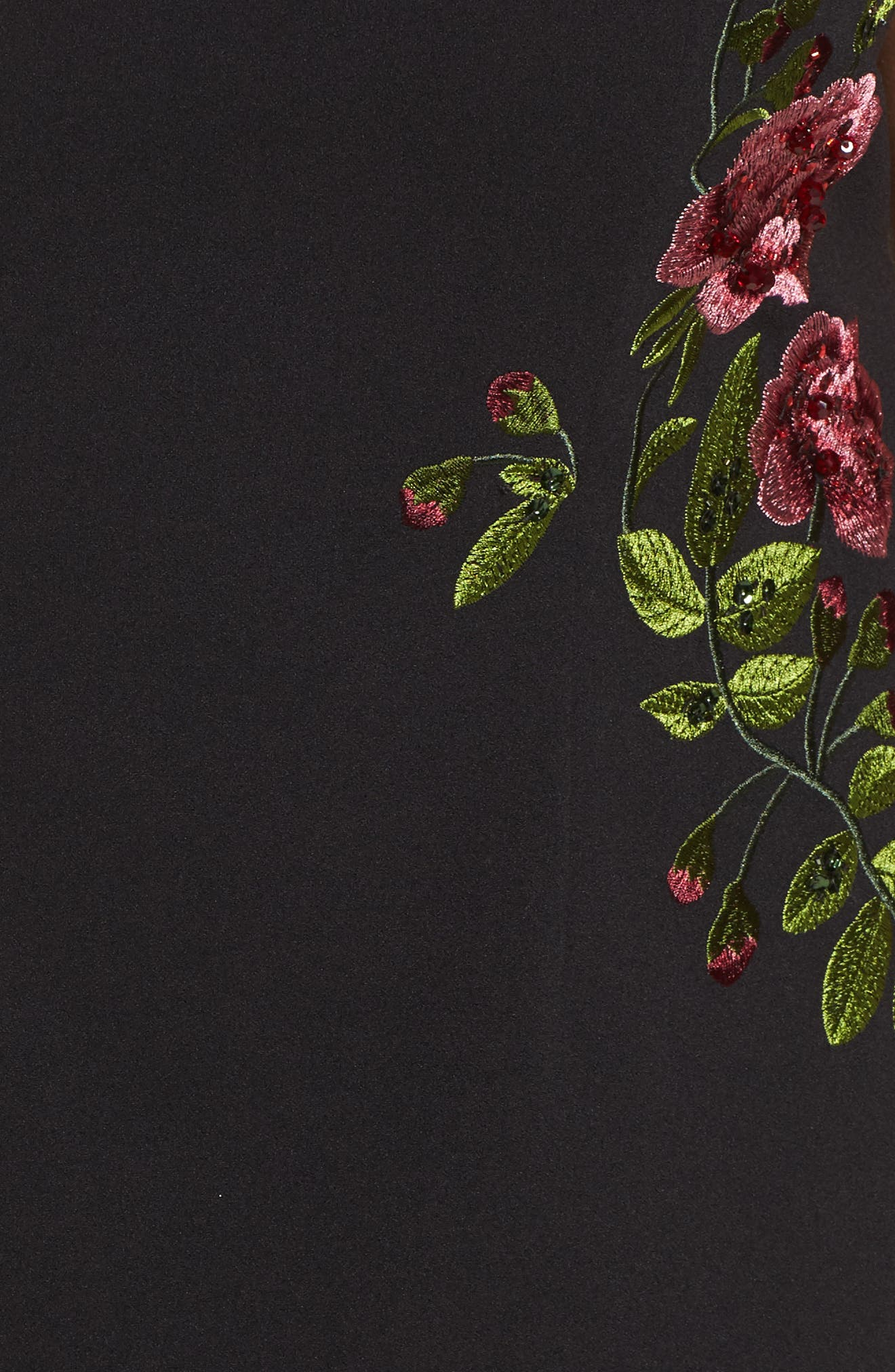 Flower Embroidered Crepe Sheath Dress,                             Alternate thumbnail 5, color,                             Black Multi