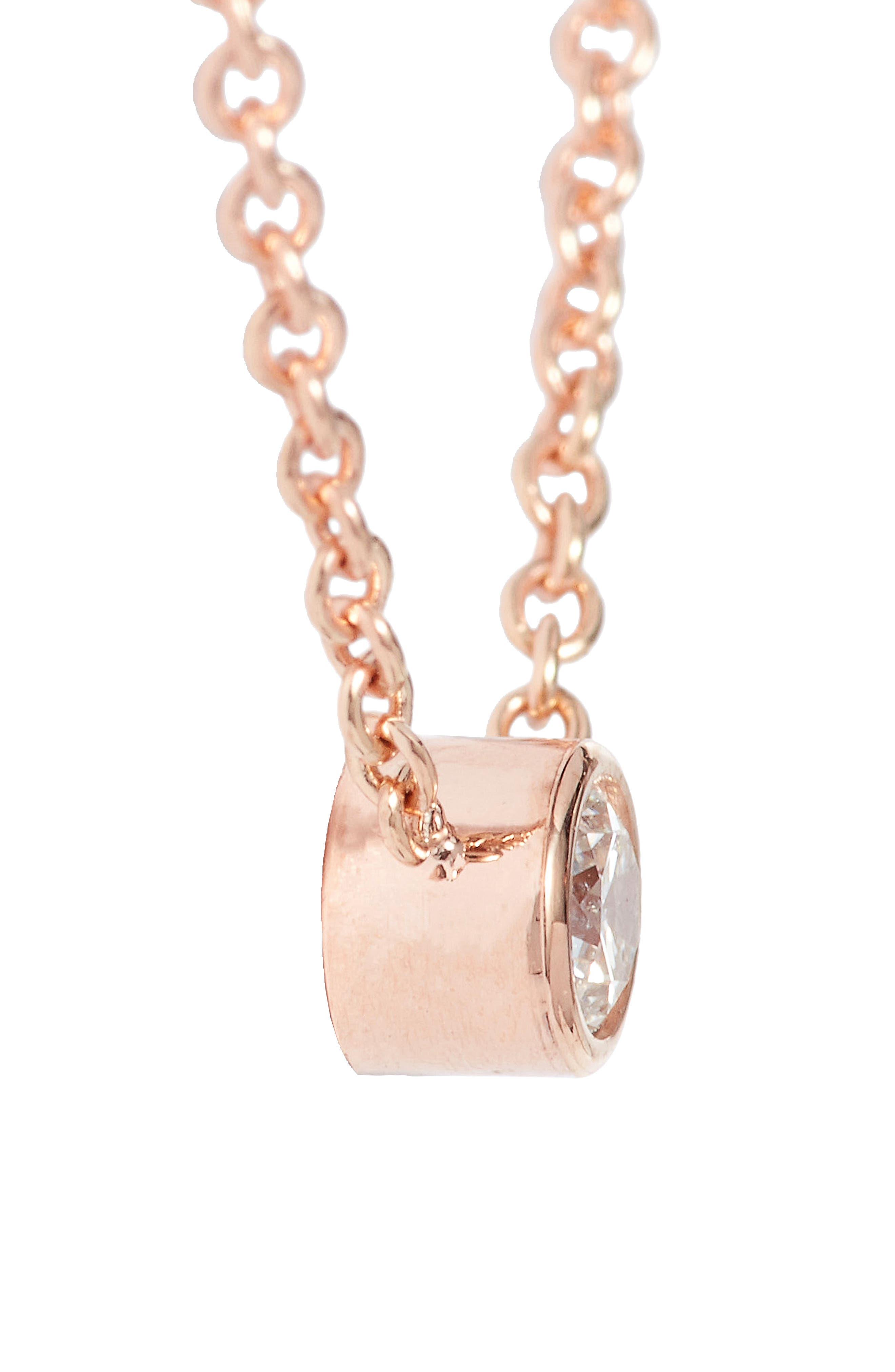 Diamond Bezel Pendant Necklace,                             Alternate thumbnail 3, color,                             Rose Gold