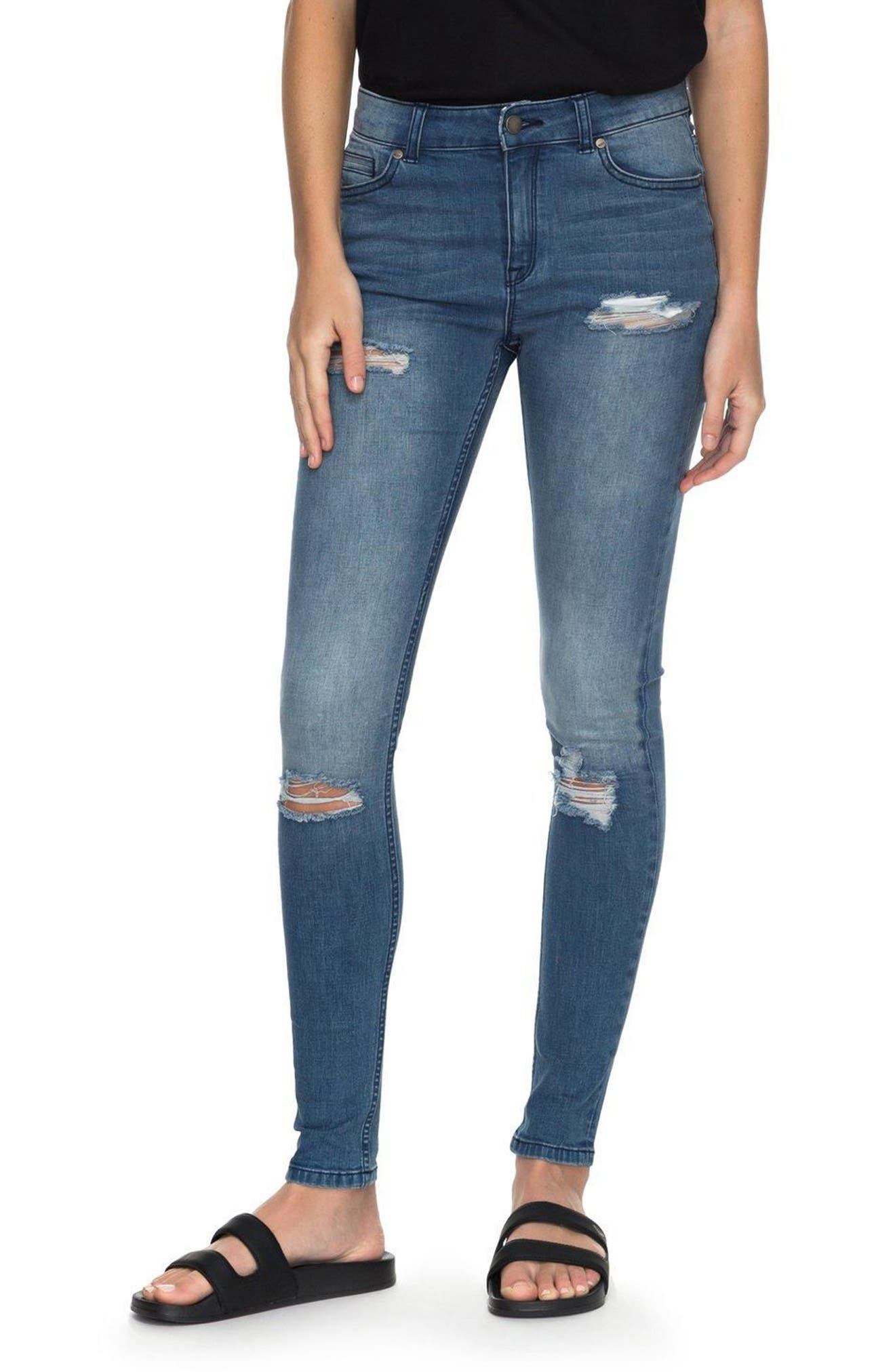 Alternate Image 1 Selected - Roxy Just the Good Day Distressed Skinny Jeans