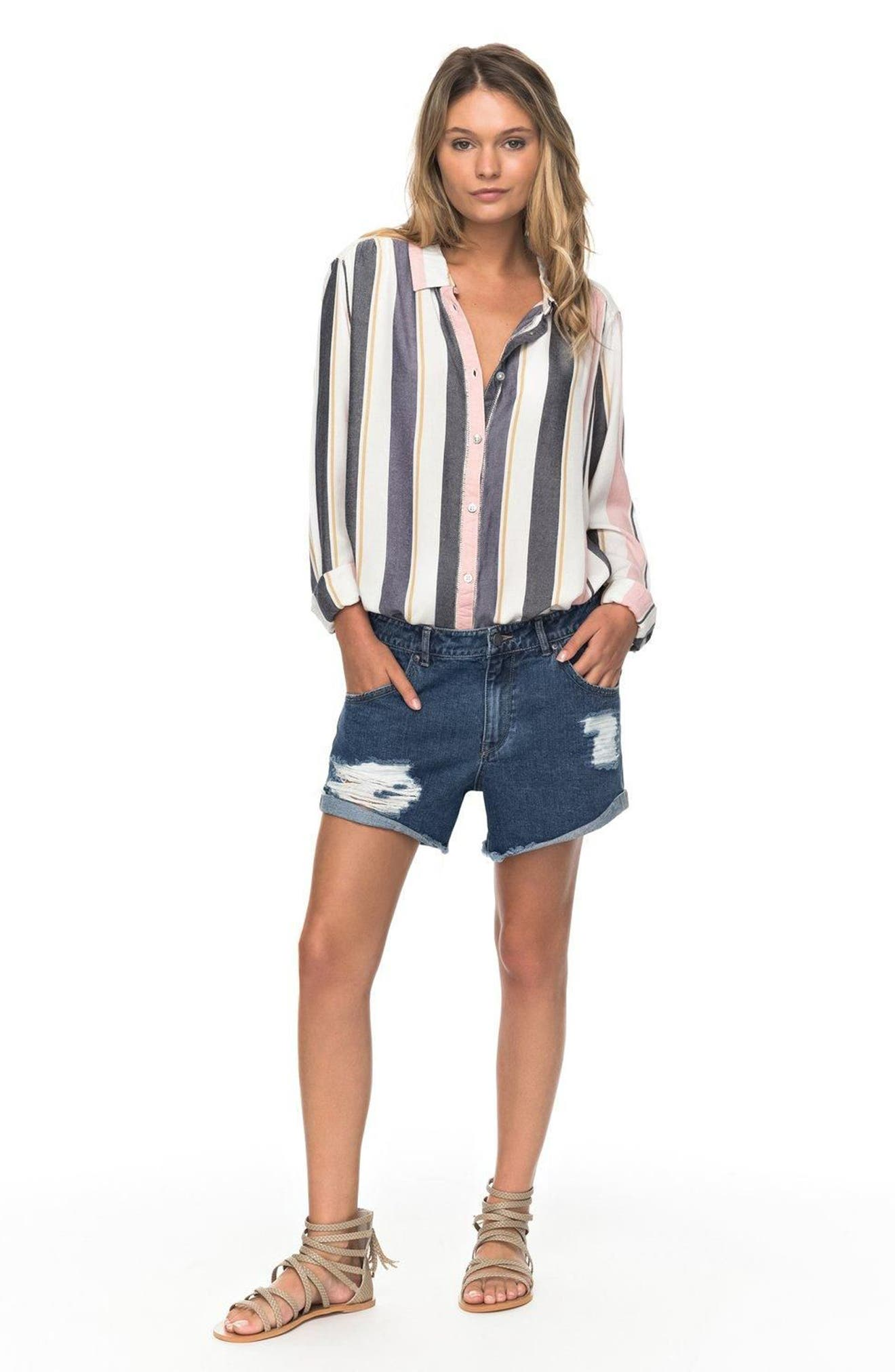 Romantic Path Button-Down Shirt,                             Alternate thumbnail 4, color,                             Nightshadow On The Road Stripe