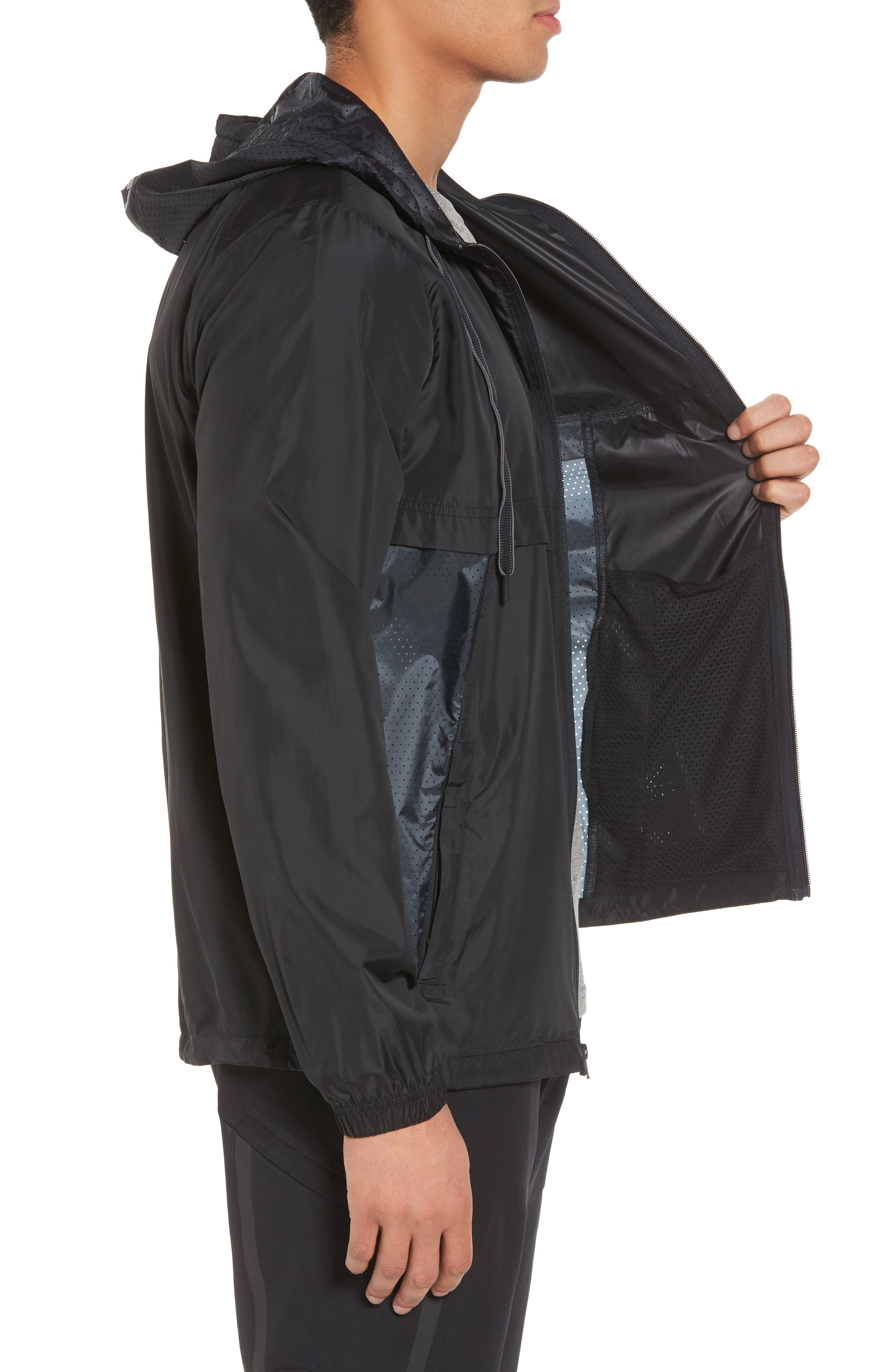 Sportstyle Windbreaker,                             Alternate thumbnail 5, color,                             Black / Overcast Grey