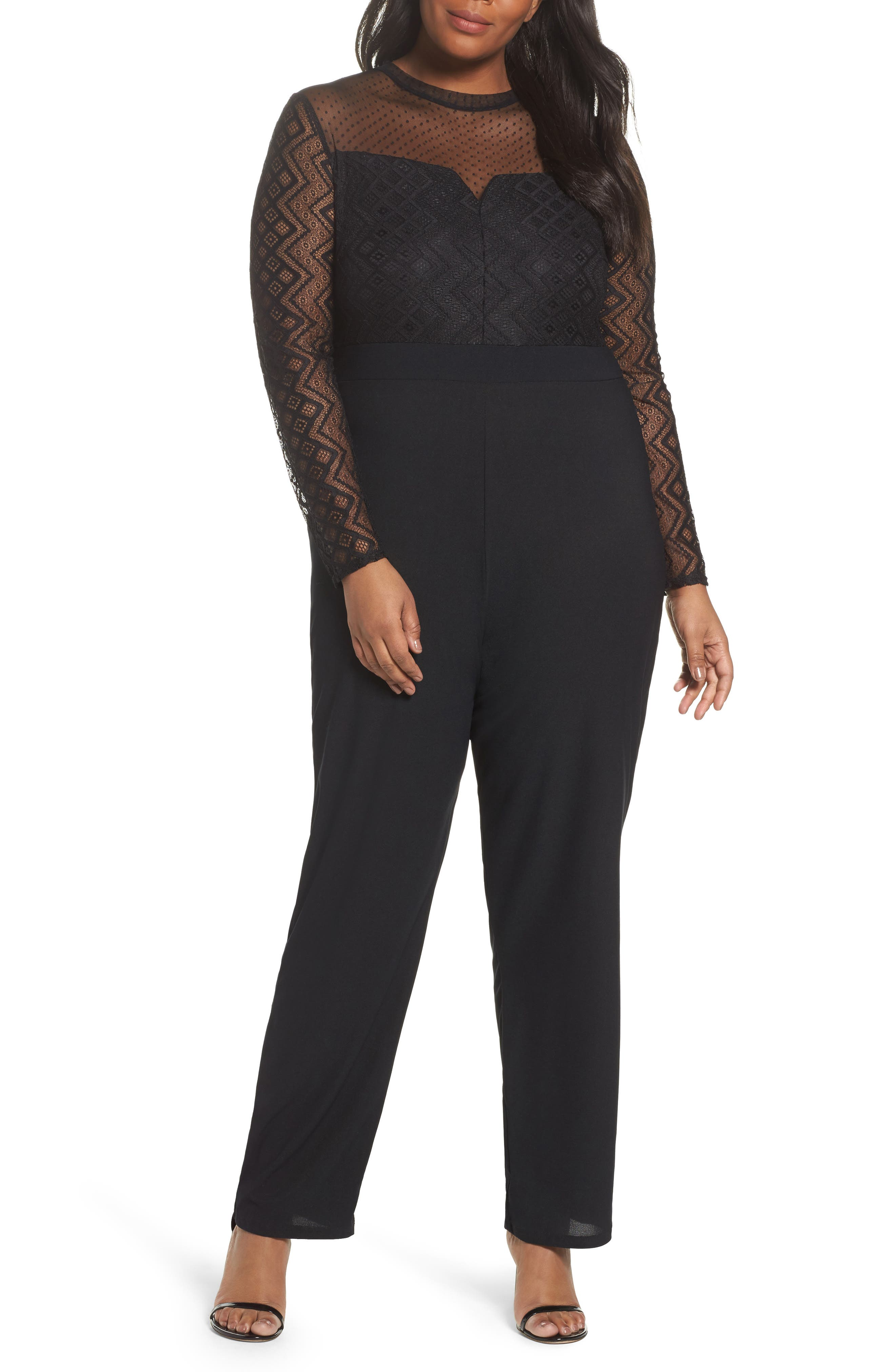 LOST INK Lace Overlay Jumpsuit (Plus Size)