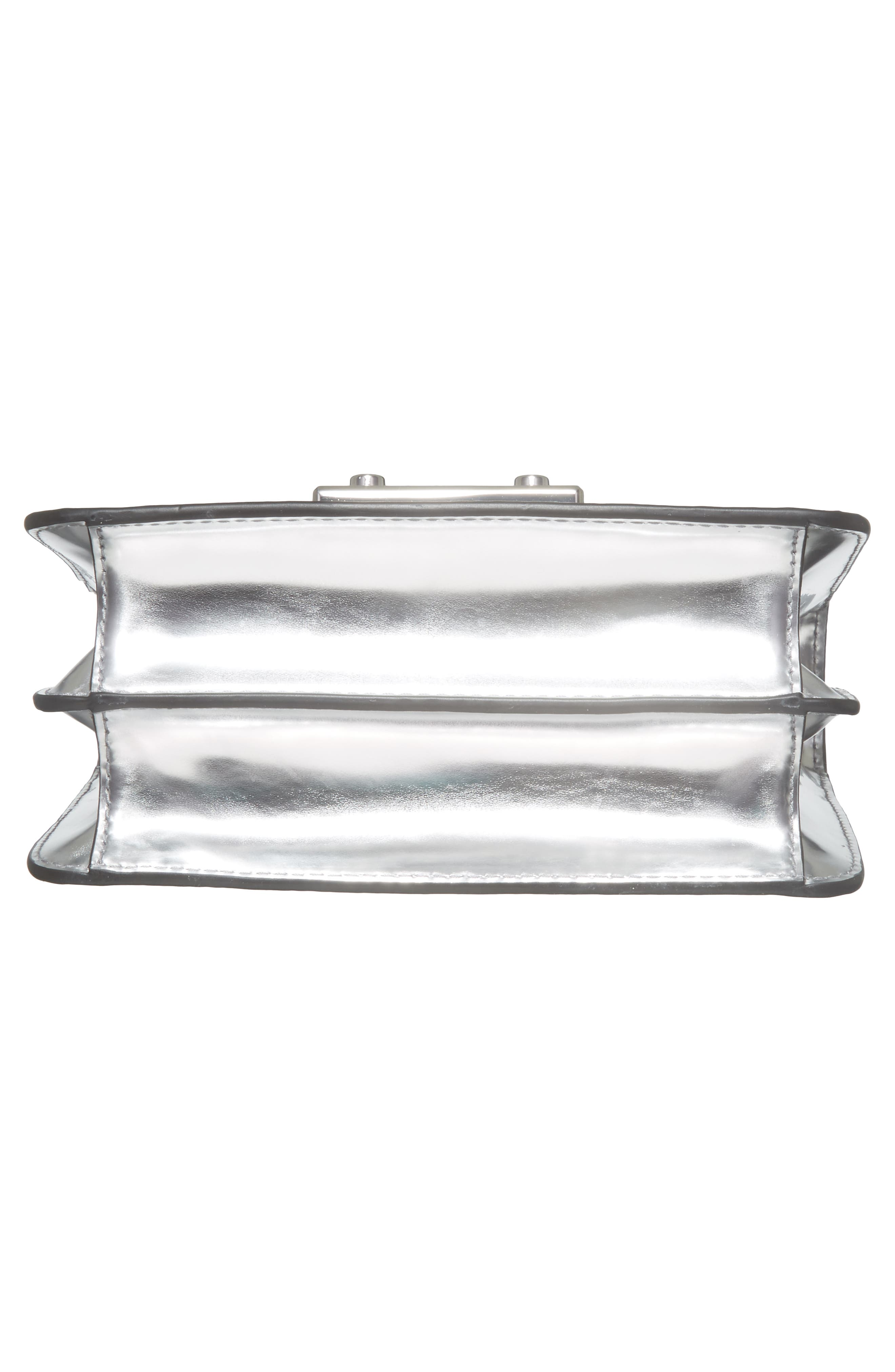 Mini Juliette Metallic Leather Top Handle Satchel,                             Alternate thumbnail 6, color,                             Silver