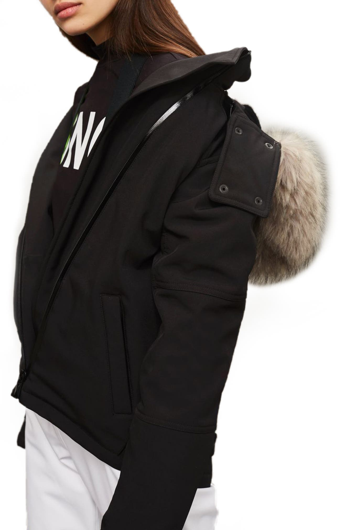 SNO Gladiator Faux Fur Hood Puffer Jacket,                             Alternate thumbnail 5, color,                             Black
