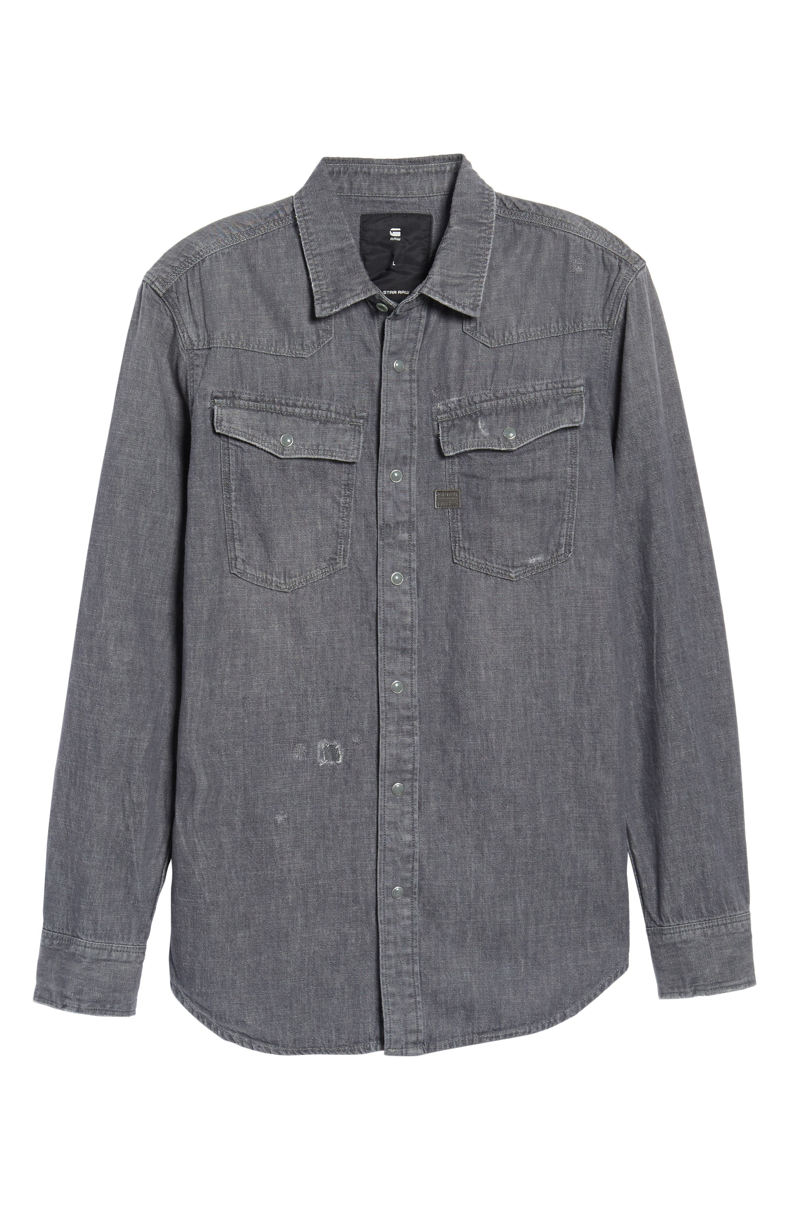 3301 Craser Denim Shirt,                             Alternate thumbnail 6, color,                             Medium Aged Restored