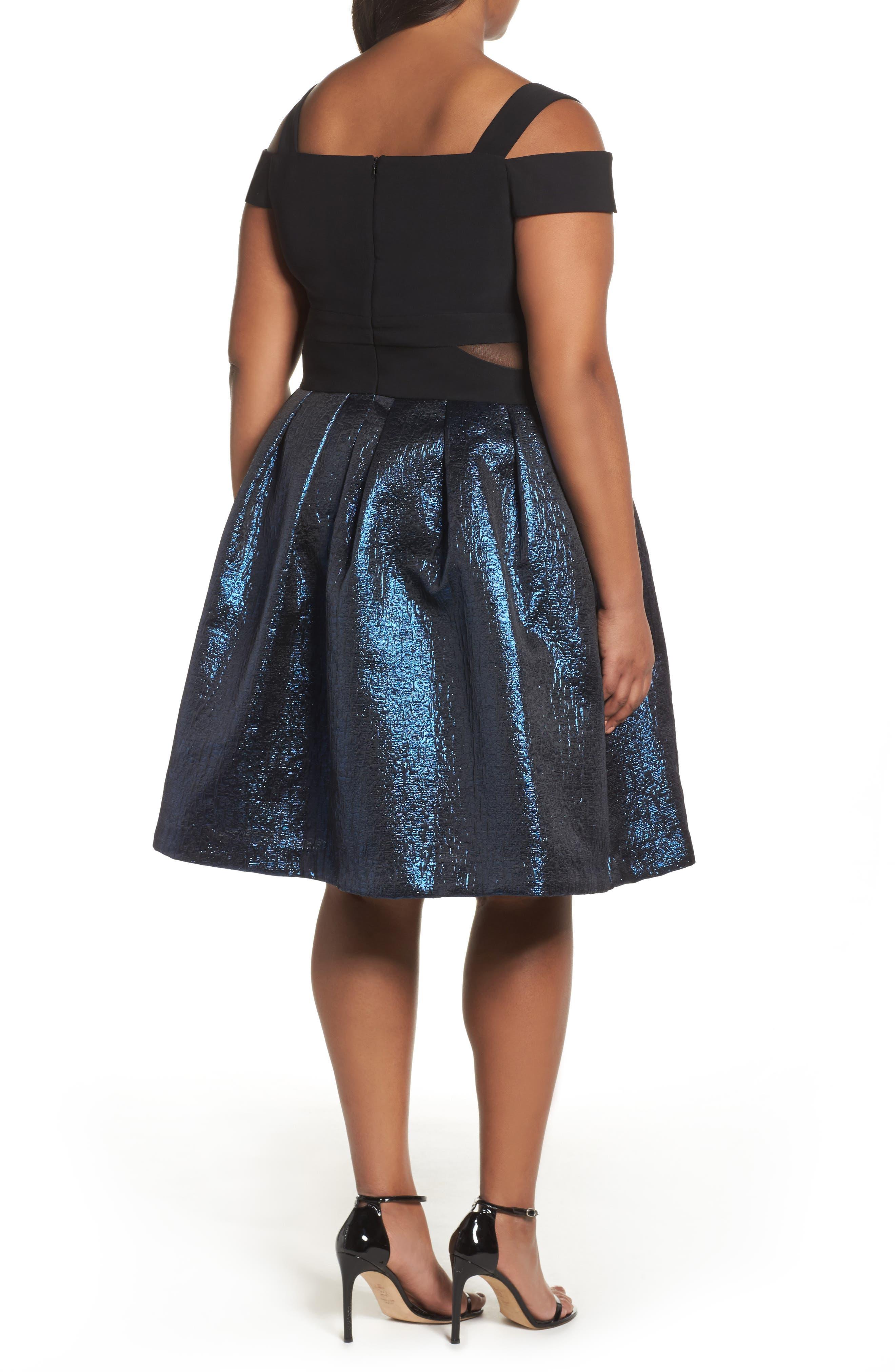 Cold Shoulder Mixed Media Party Dress,                             Alternate thumbnail 2, color,                             Black/ Blue