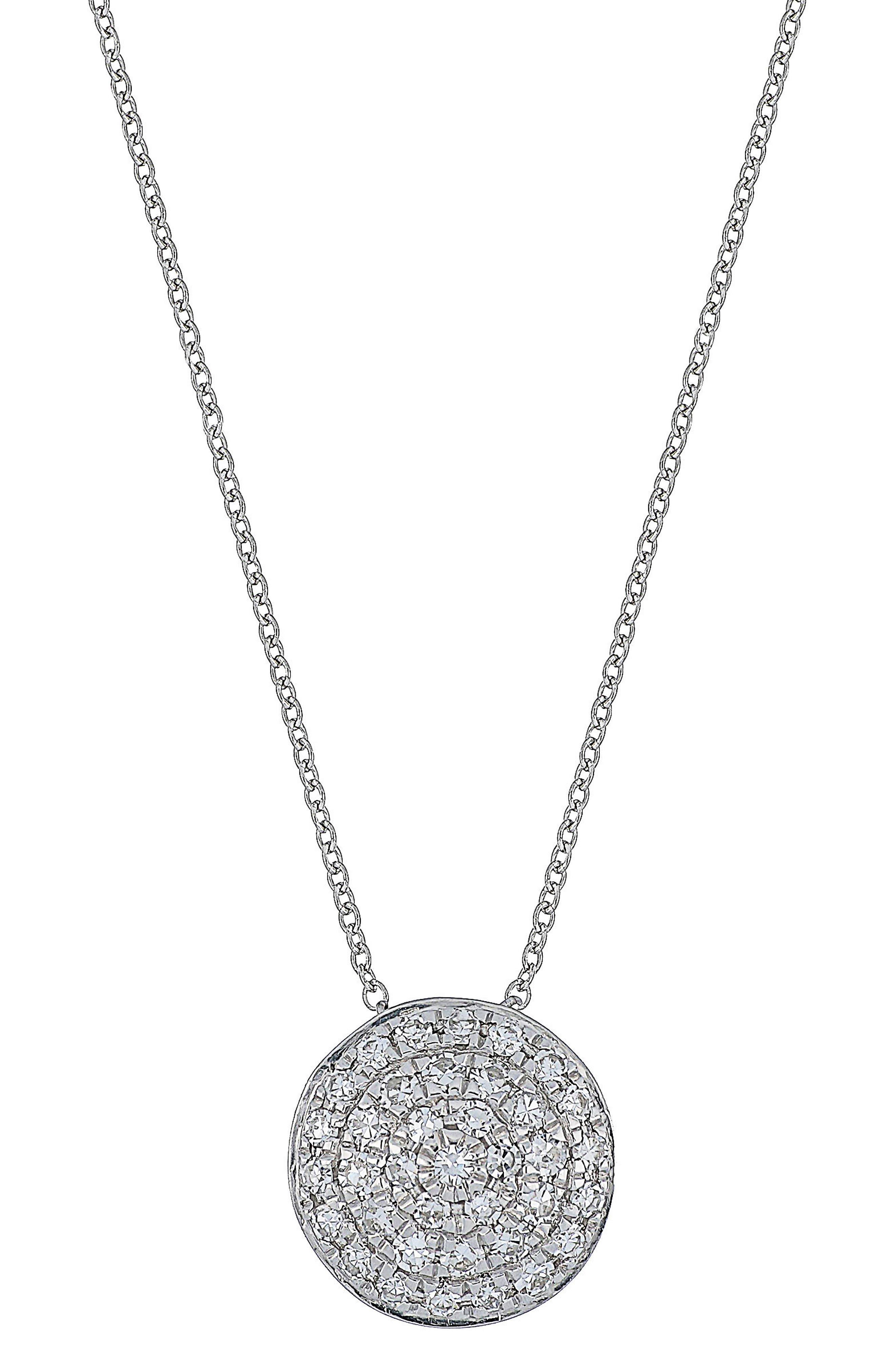 Carrière Pavé Disc Pendant Necklace,                         Main,                         color, Silver/ Diamond