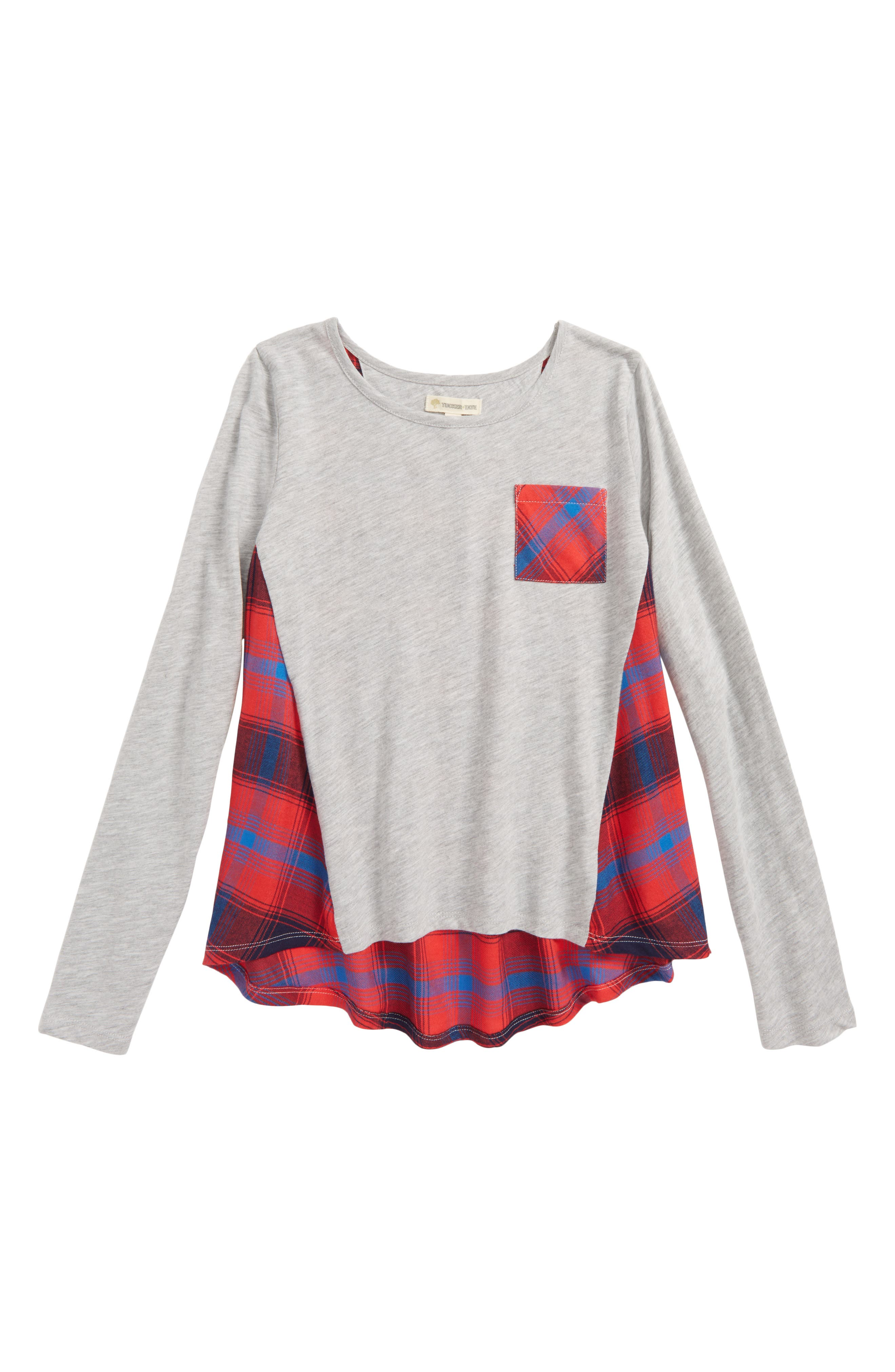 Tucker + Tate Plaid Swing Tee (Big Girls)
