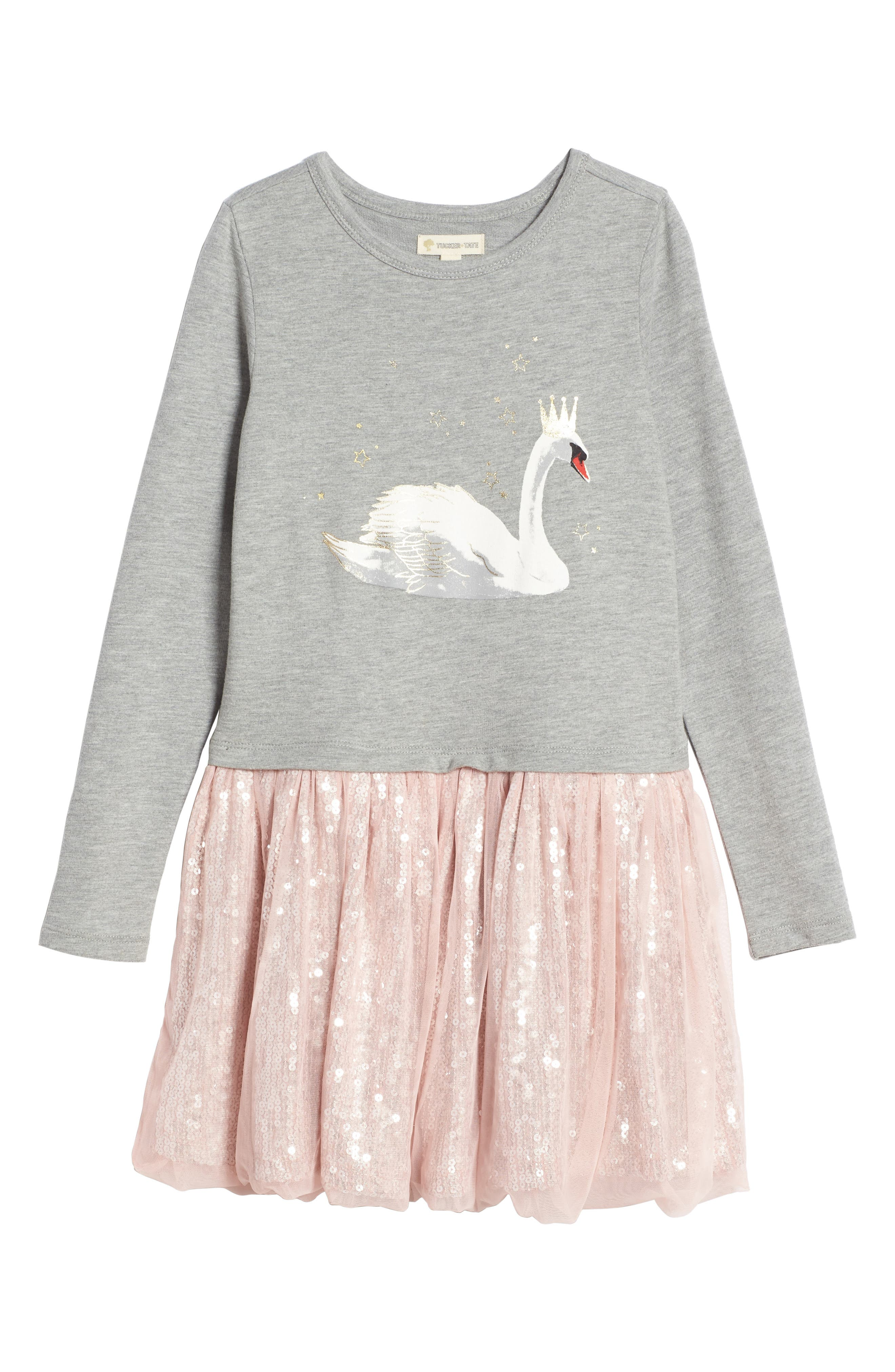 Sequin Tutu Dress,                             Main thumbnail 1, color,                             Grey Medium Heather Swan