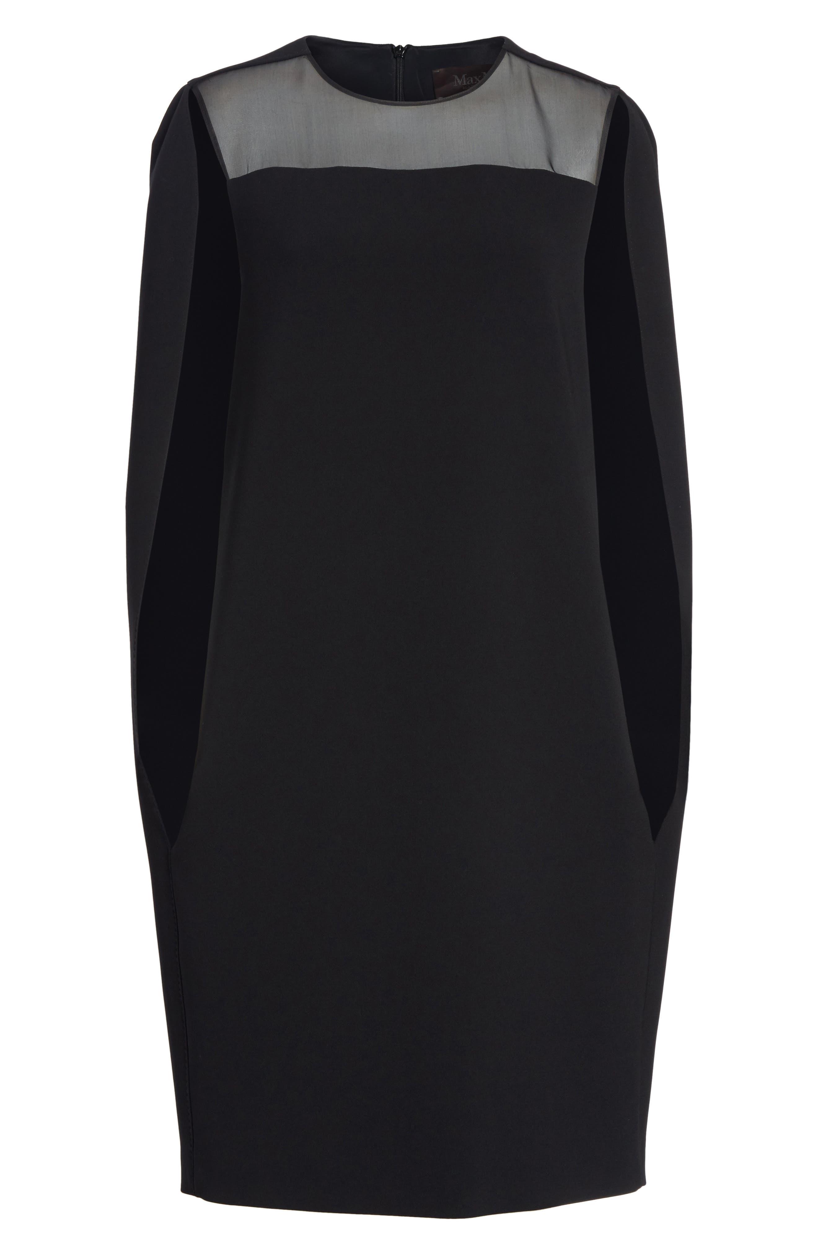 Sospiro Cape Shift Dress,                             Alternate thumbnail 7, color,                             Black