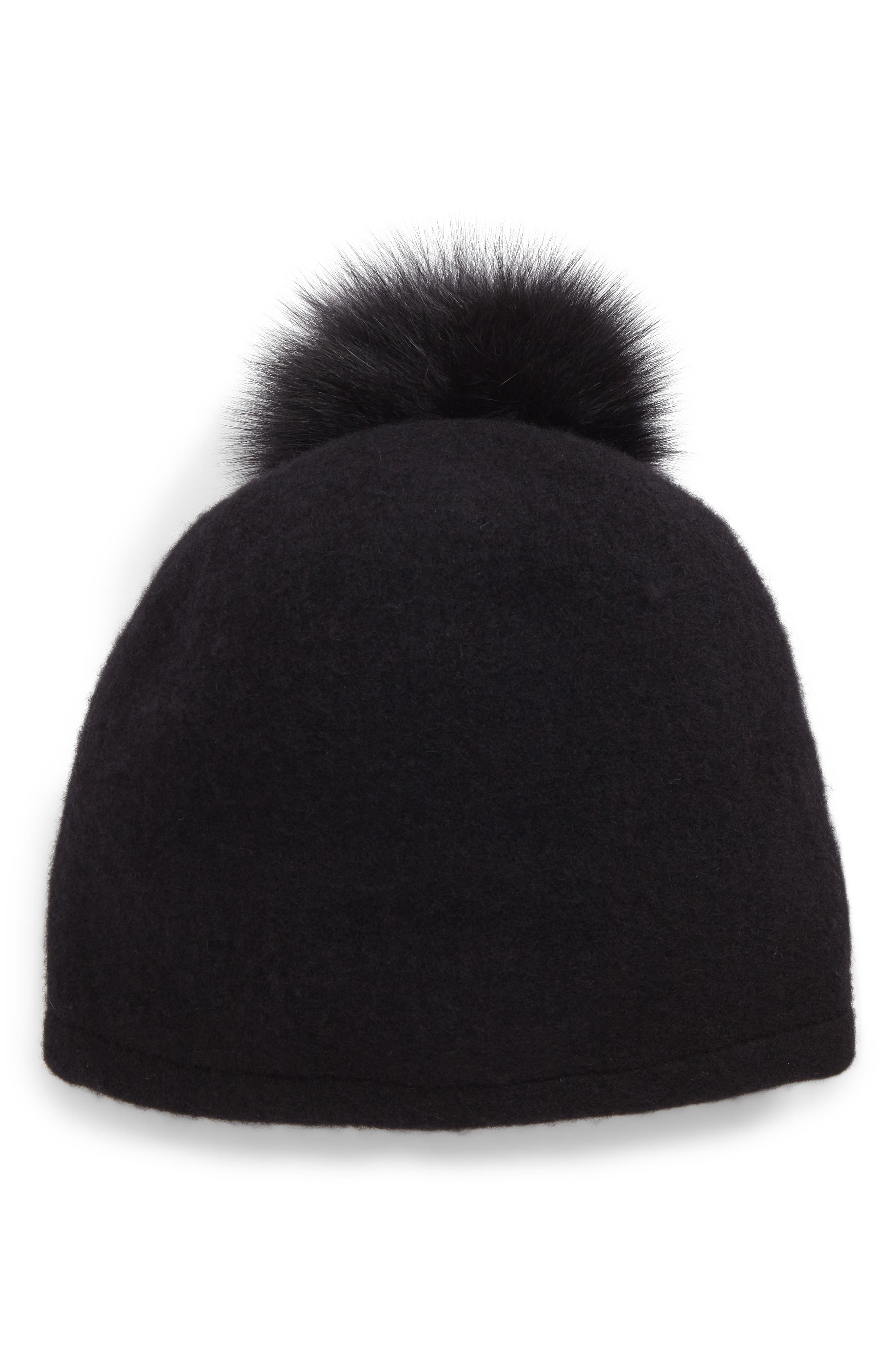 Slouchy Wool Knit Beanie with Genuine Fox Fur Pom,                         Main,                         color, Black/Black