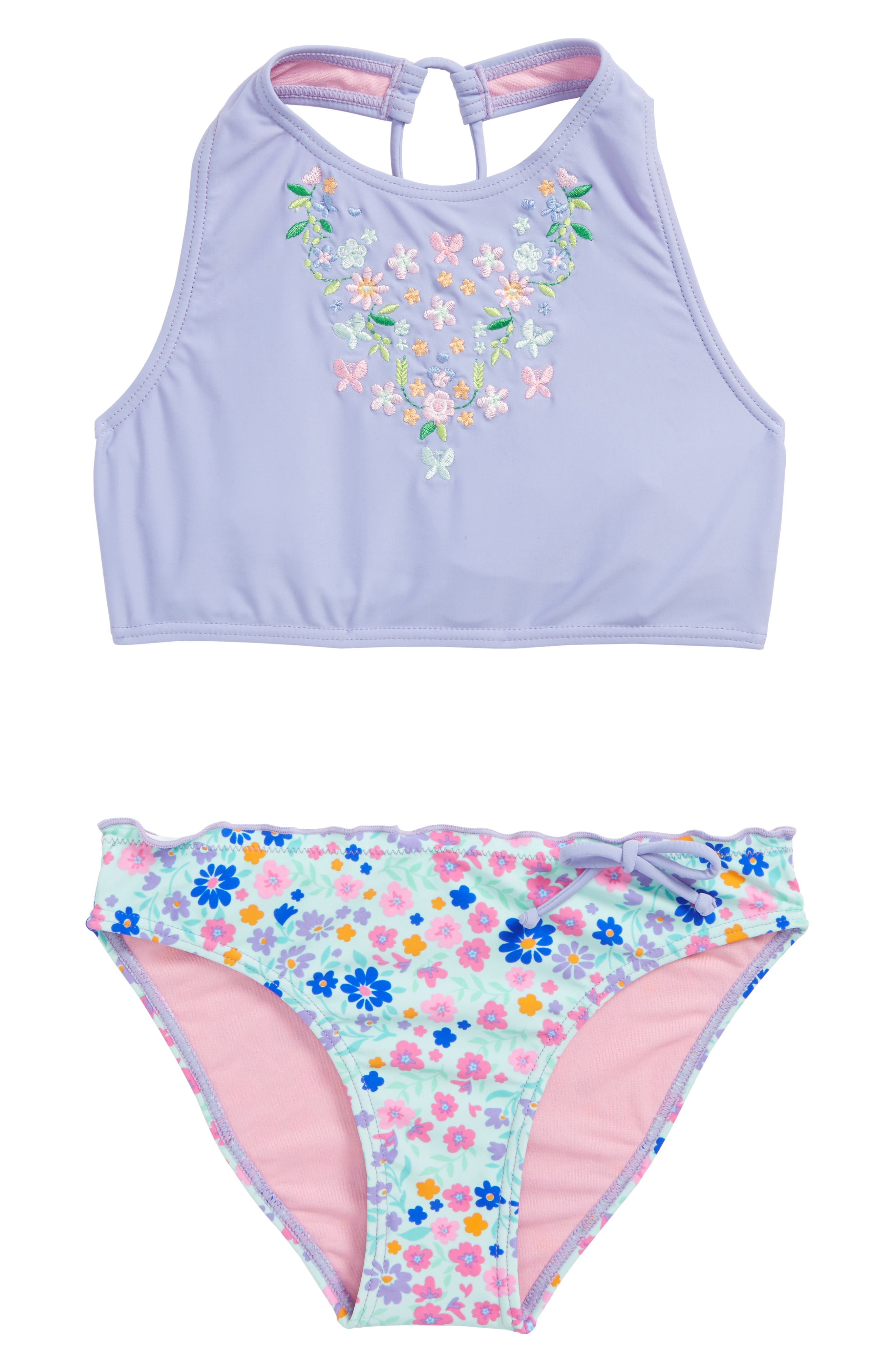 In Bloom Two-Piece Swimsuit,                             Main thumbnail 1, color,                             Deep Periwinkle Combo