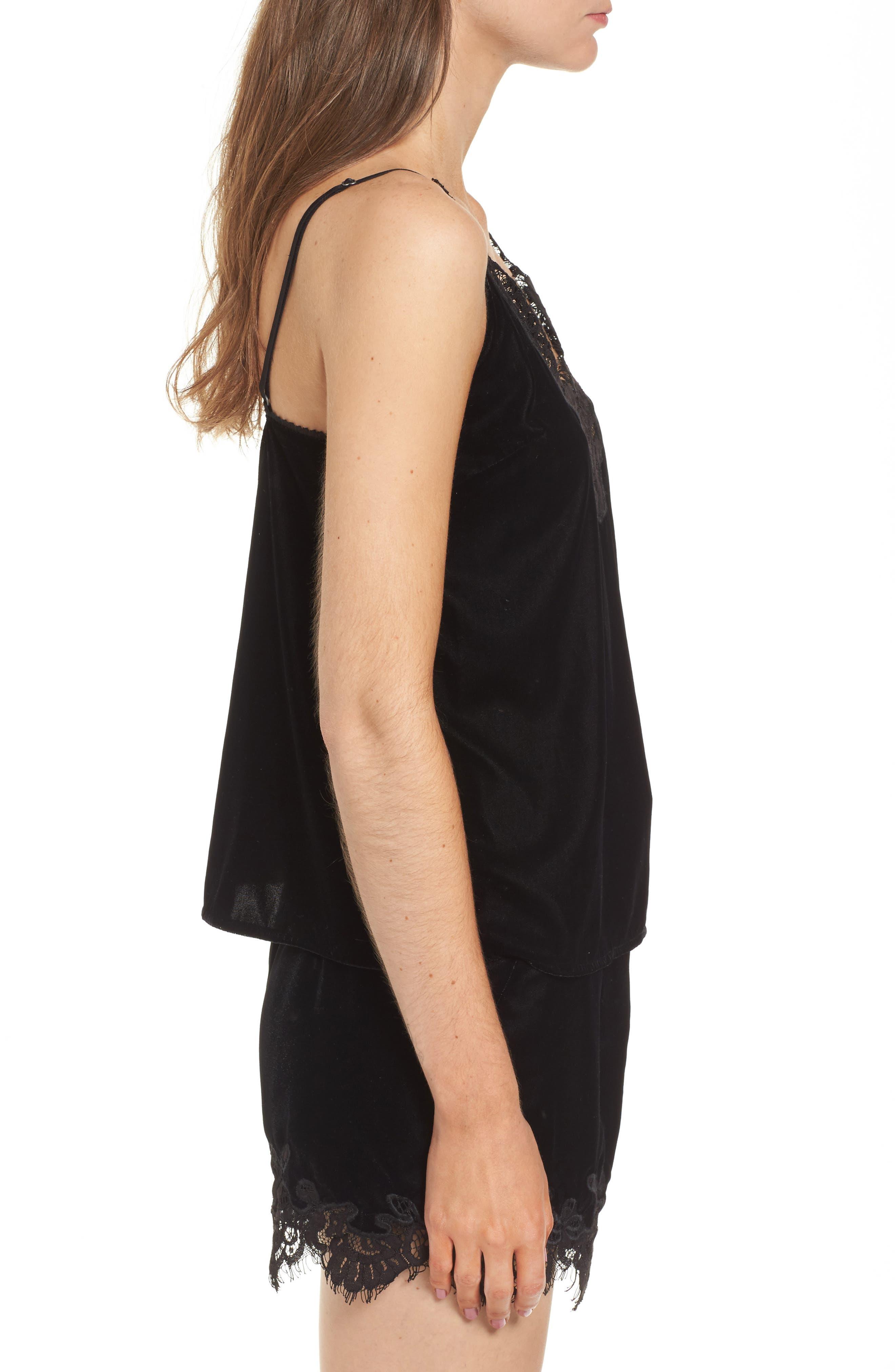 Henni Lace & Velvet Camisole,                             Alternate thumbnail 4, color,                             Black