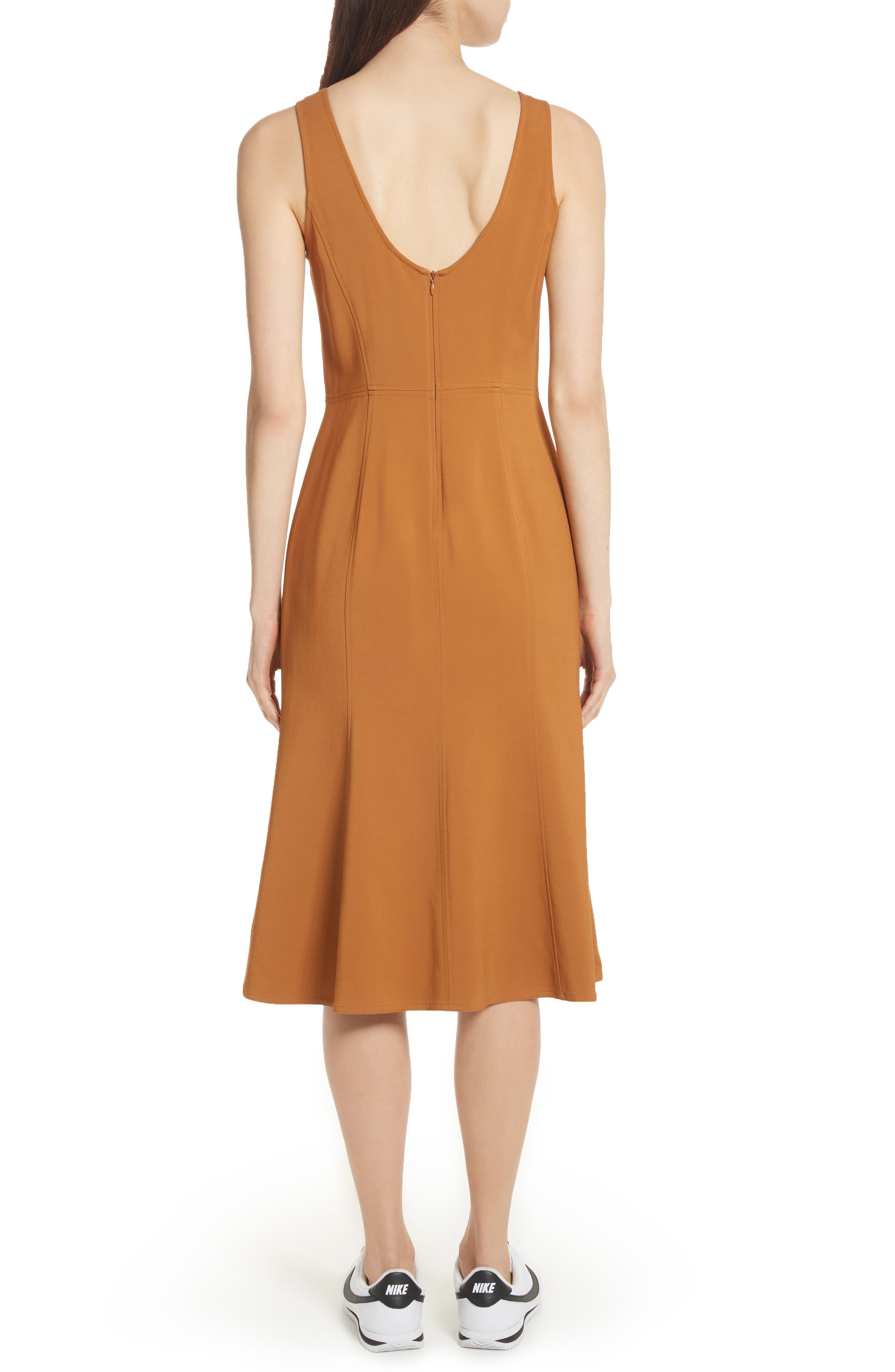 Sander Buckle Strap Midi Dress,                             Alternate thumbnail 2, color,                             Gold
