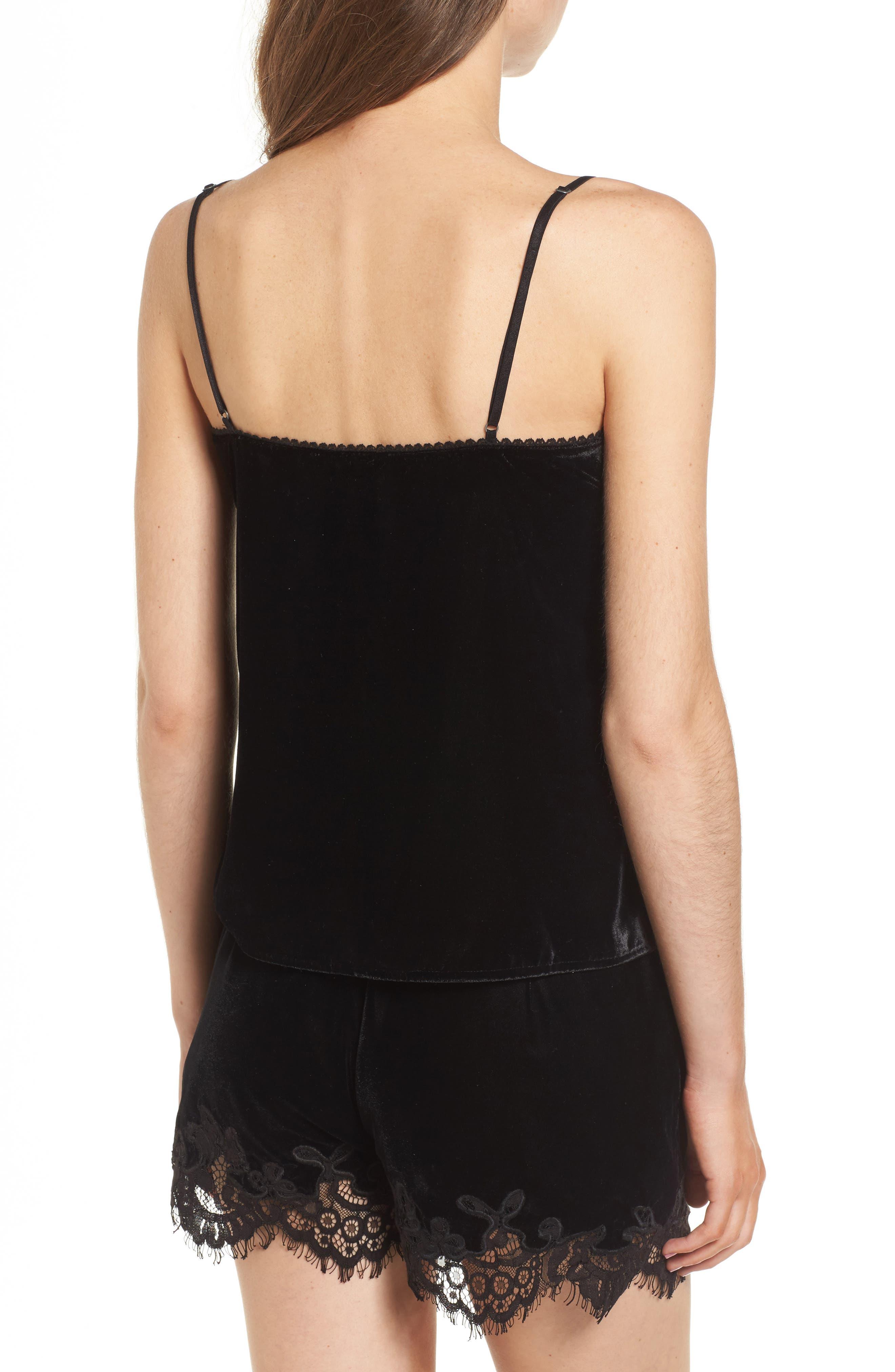 Henni Lace & Velvet Camisole,                             Alternate thumbnail 3, color,                             Black
