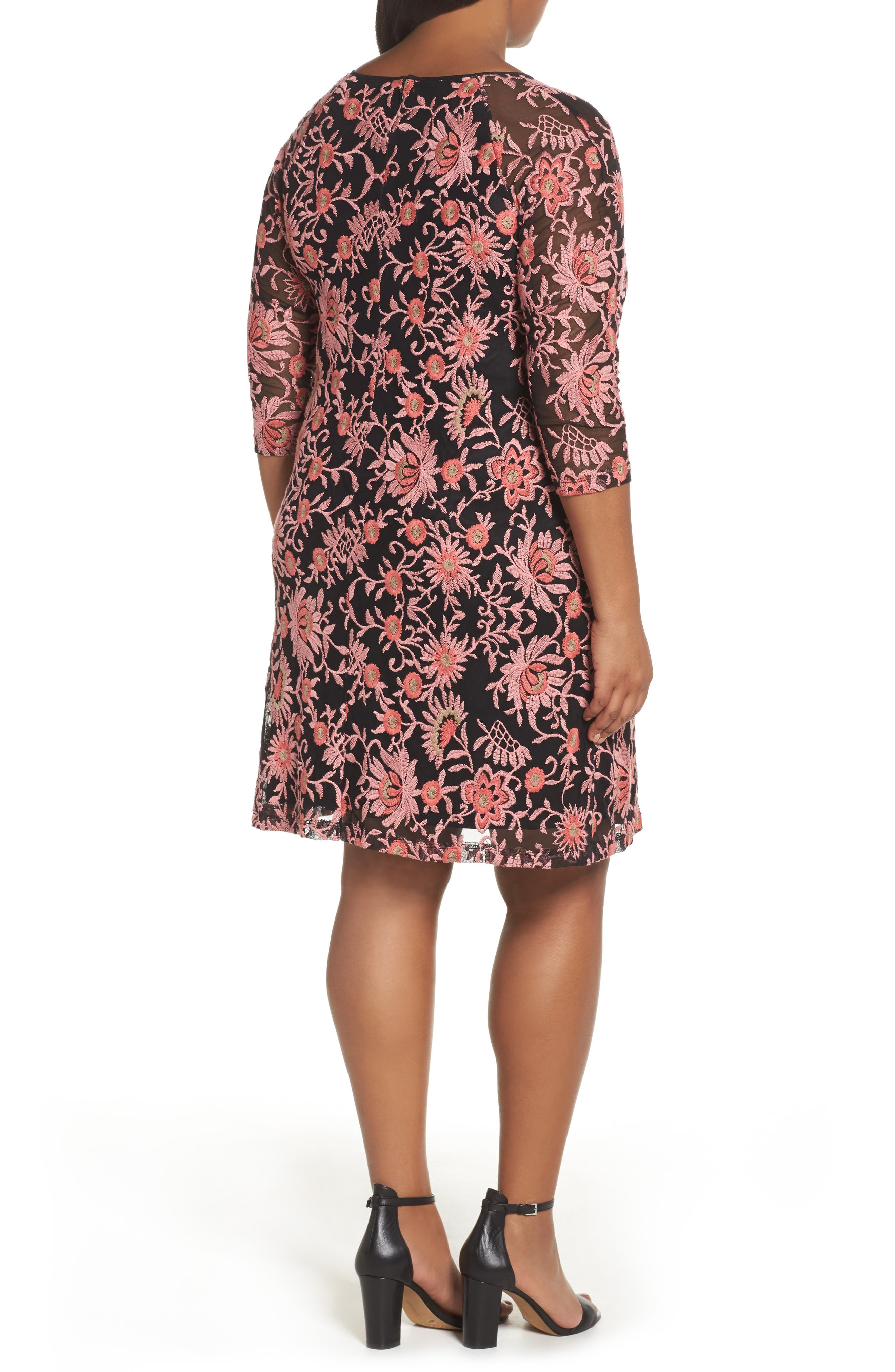 Alternate Image 2  - Adrianna Papell Marrakesh Embroidered Trapeze Dress (Plus Size)