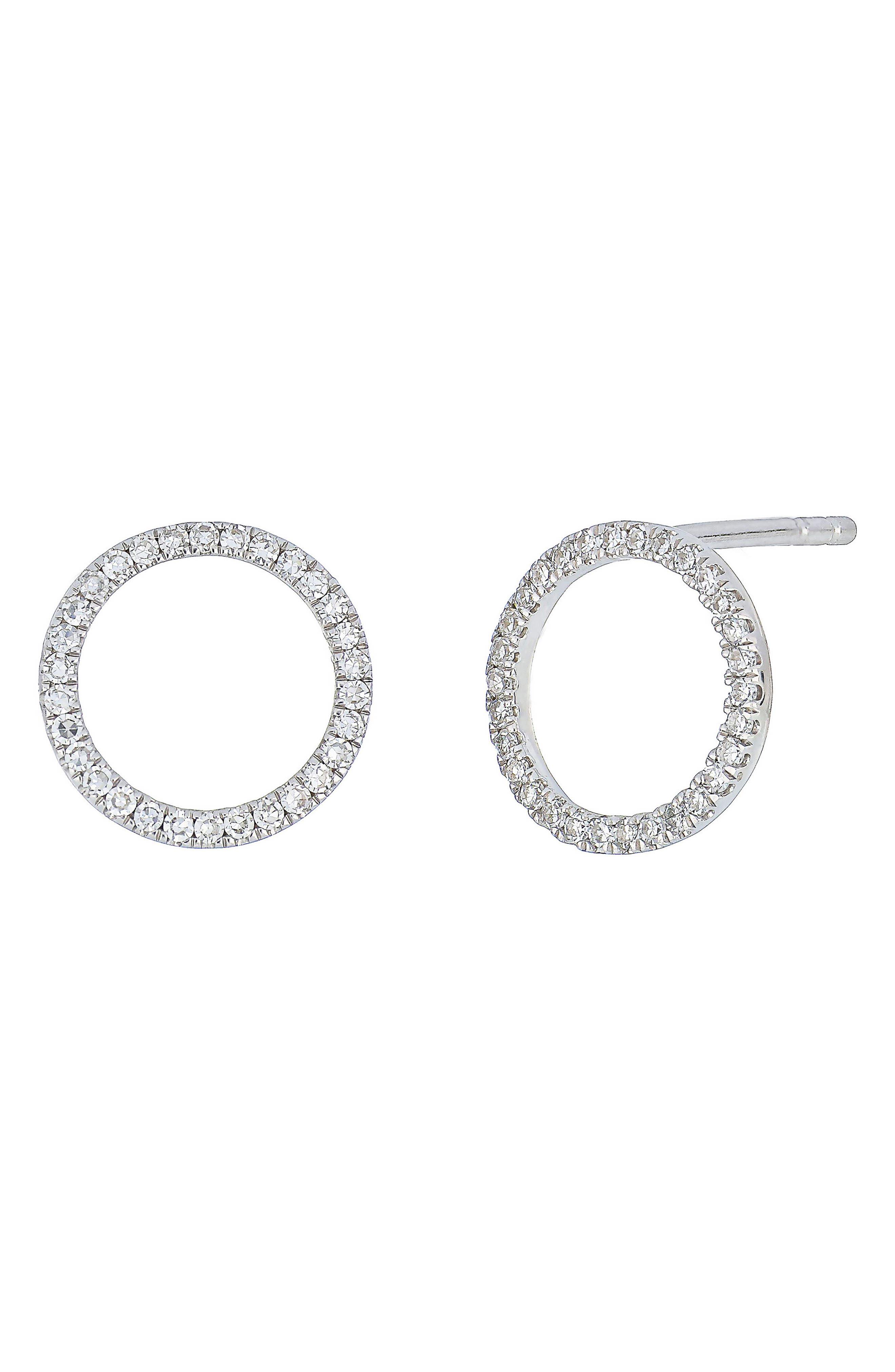 Carrière Diamond Circle Earrings,                             Main thumbnail 1, color,                             Silver/ Diamond