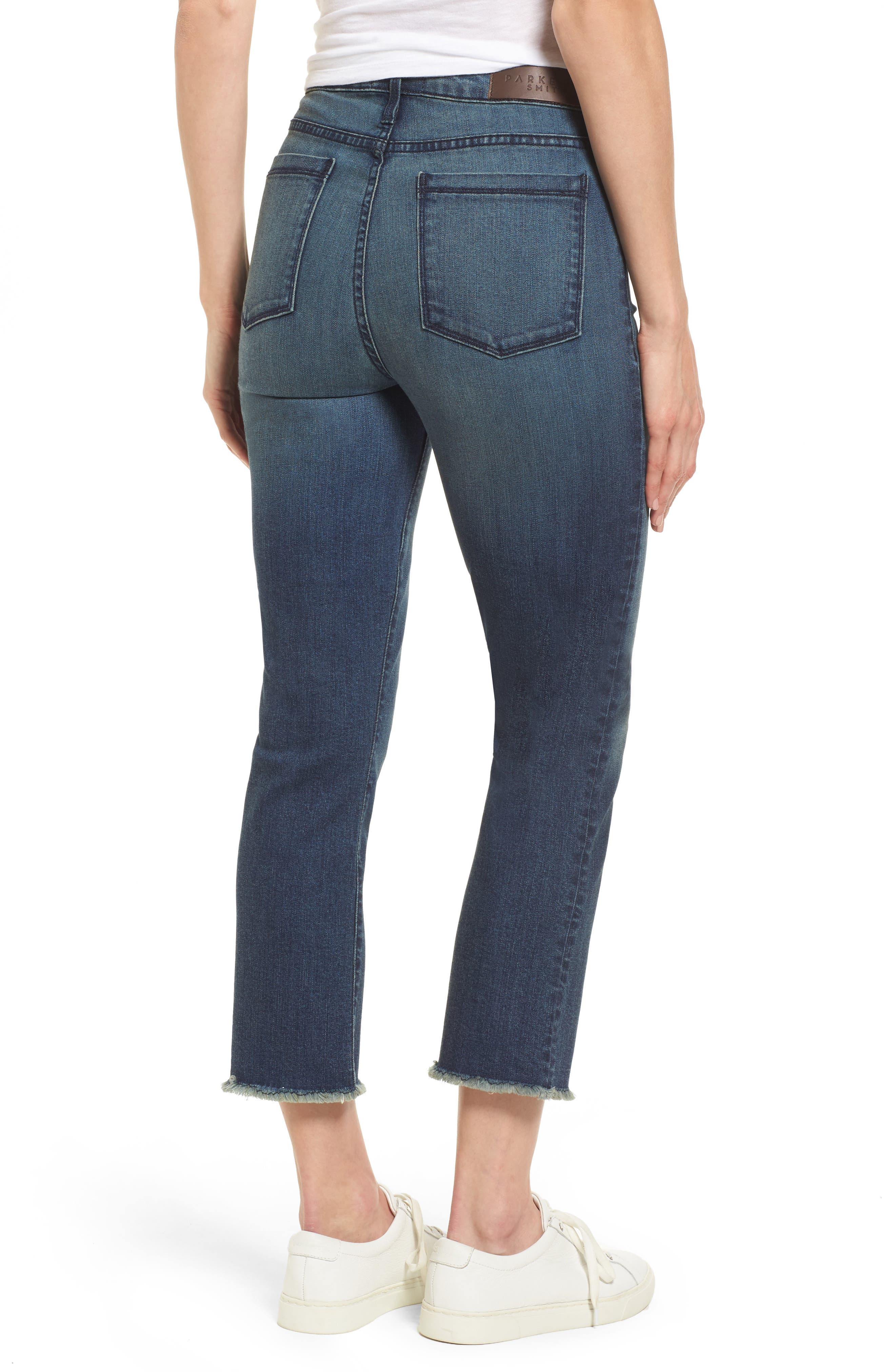 Pin-Up Straight Crop Jeans,                             Alternate thumbnail 2, color,                             Ocean Boulevard
