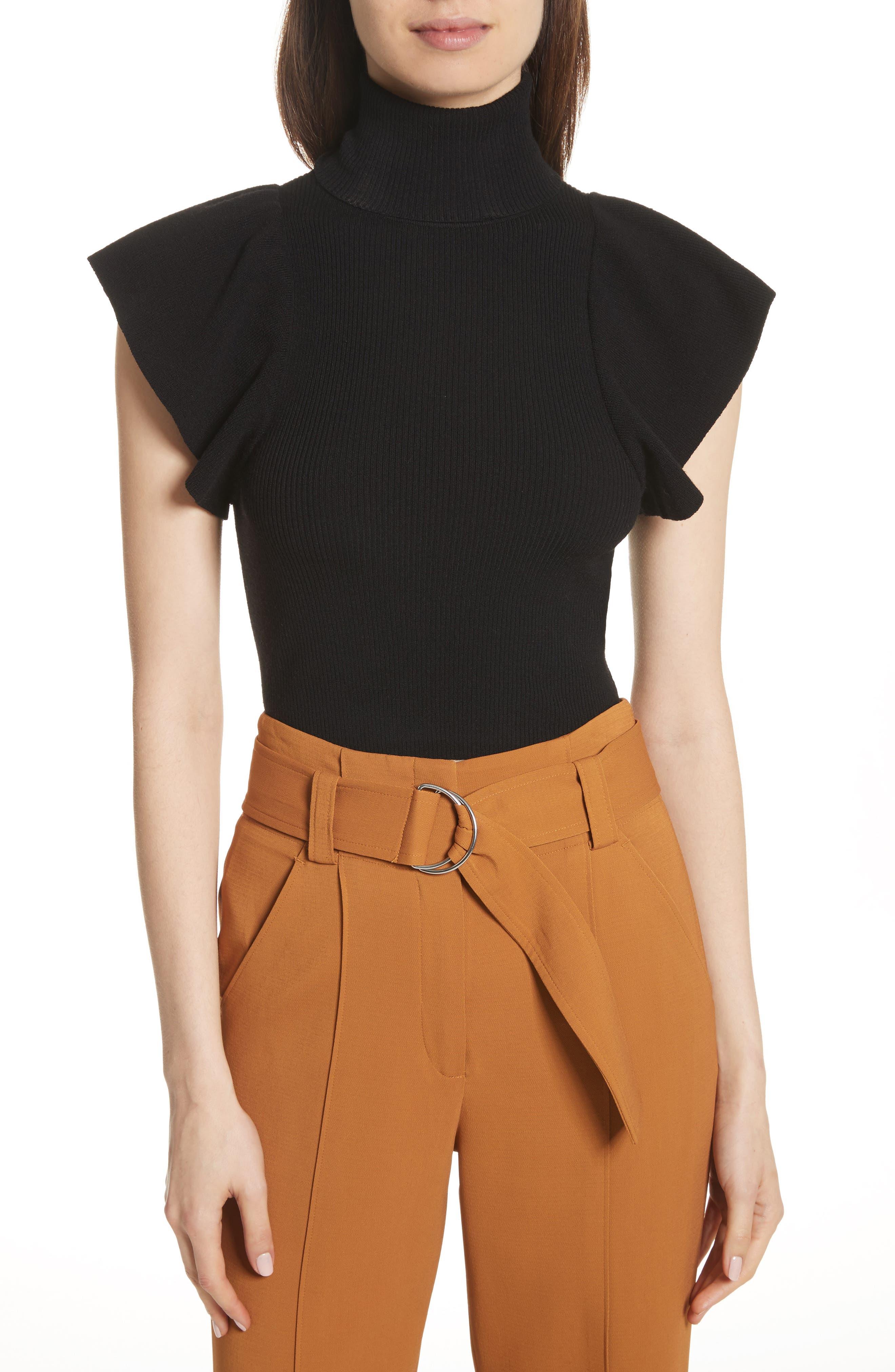 Jae Flutter Sleeve Turtleneck Sweater,                         Main,                         color, Black