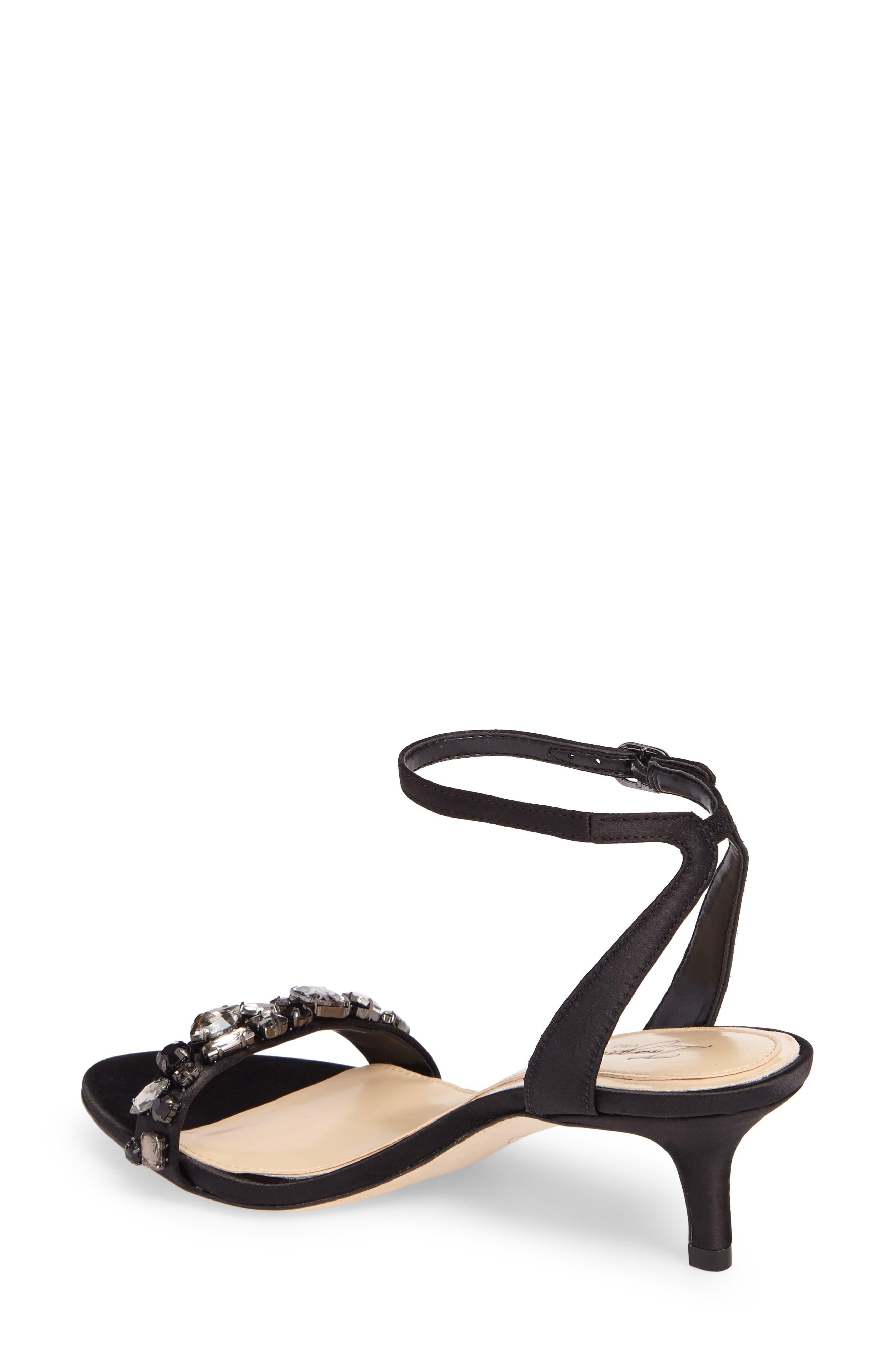 Imagine Vince Camuto Kolo Embellished Kitten Heel Sandal,                             Alternate thumbnail 2, color,                             Black Satin