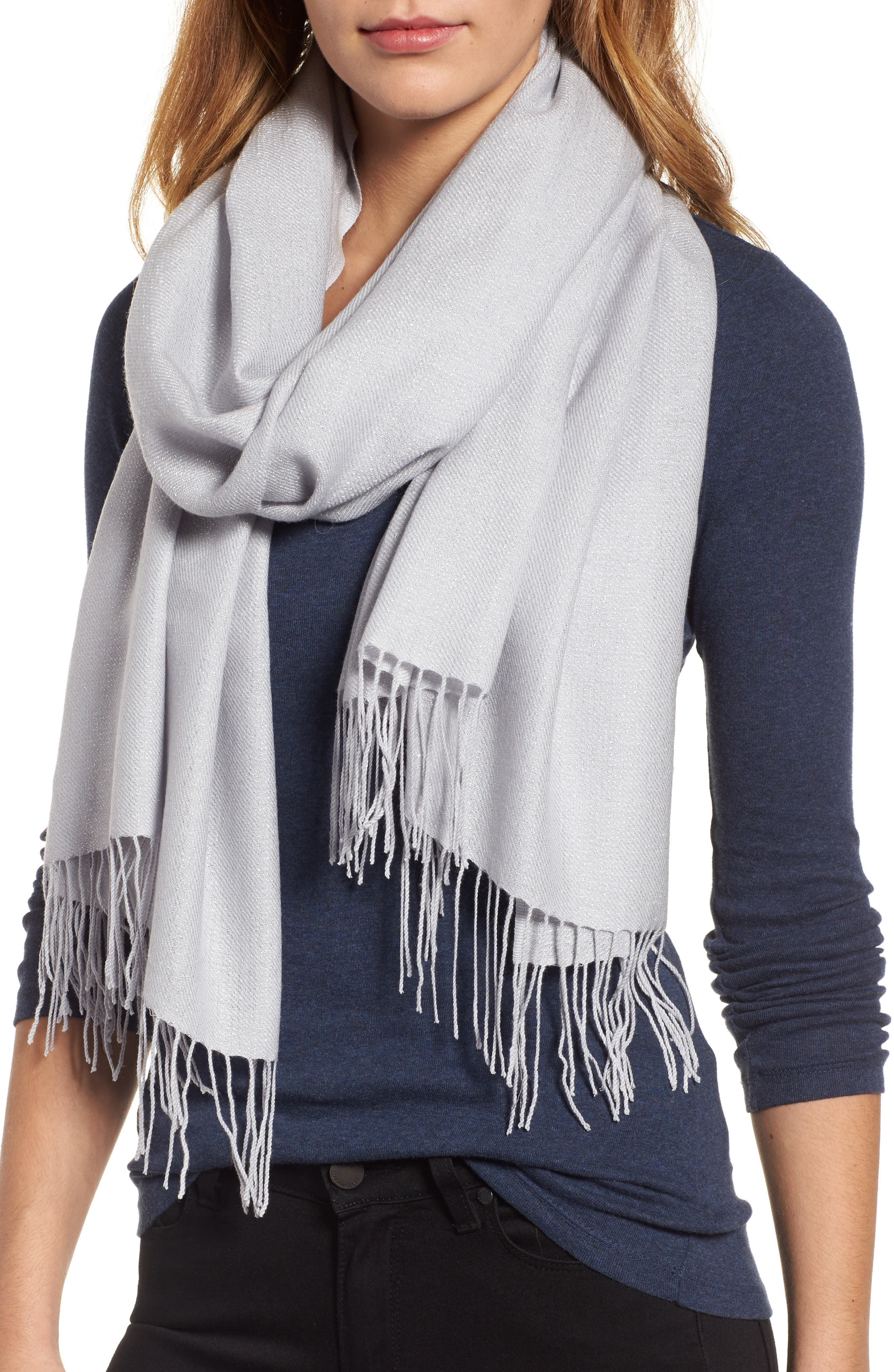Metallic Wool Blend Scarf,                         Main,                         color, Silver Combo